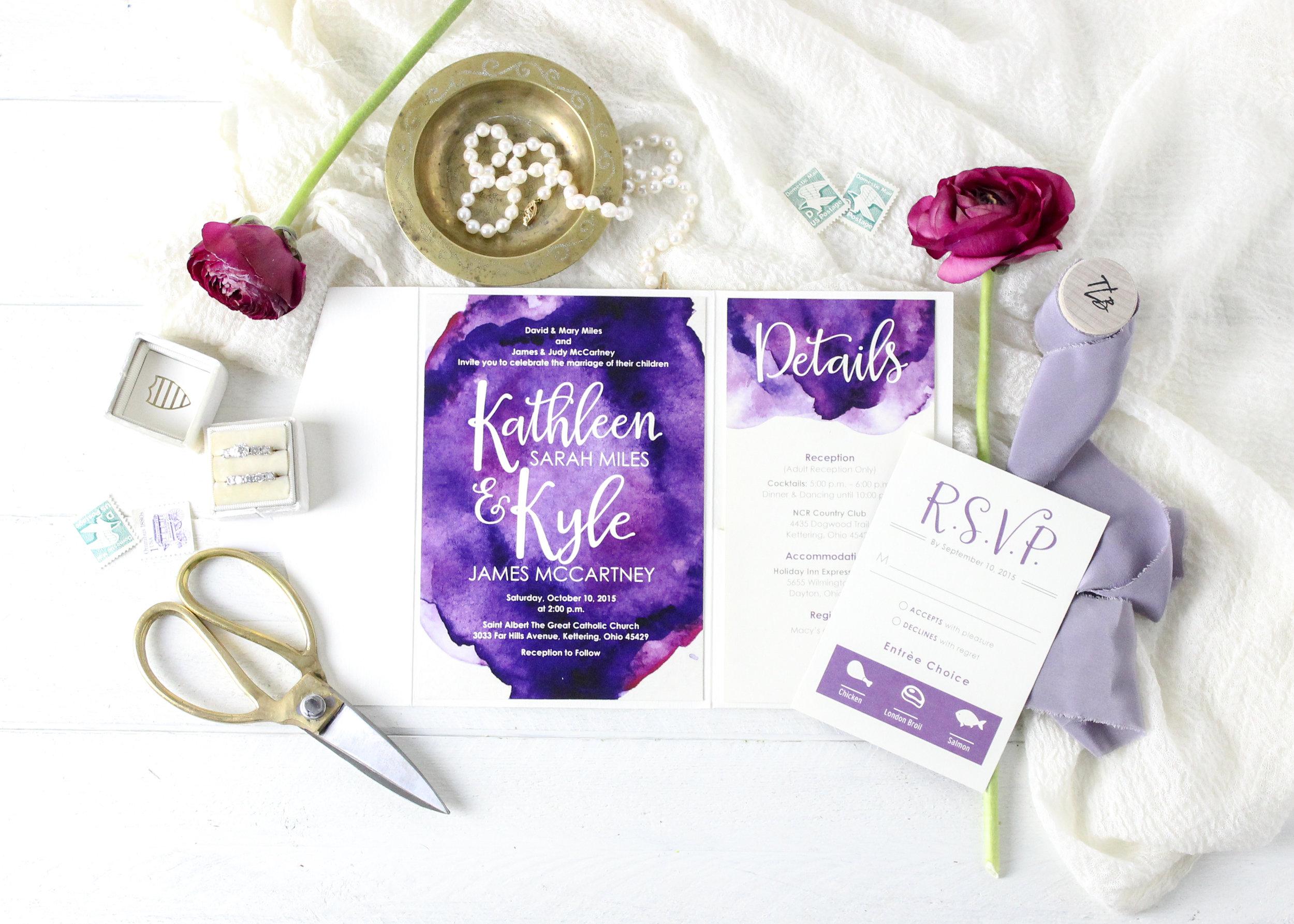 Purple Pocket Folder Wedding Invitations