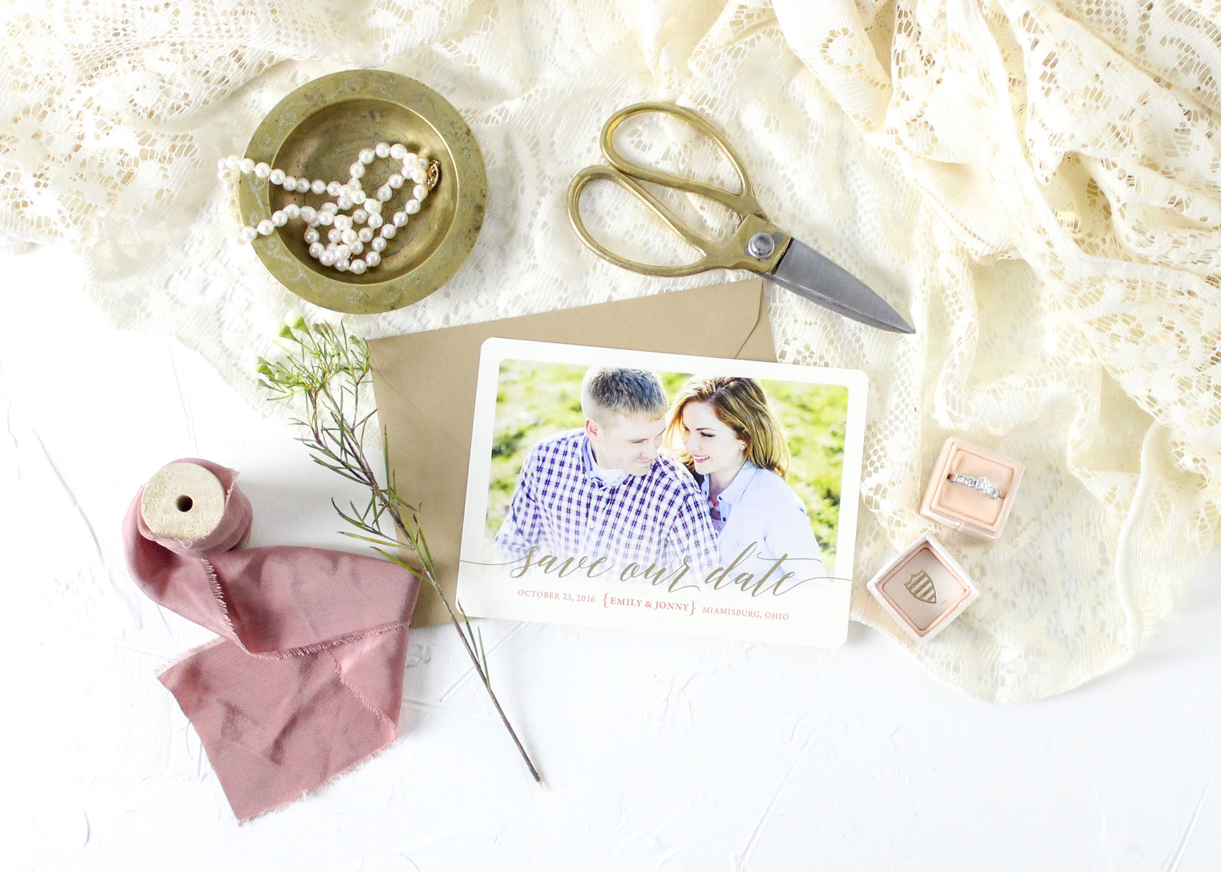 Blush and Gold Foil Save the Date
