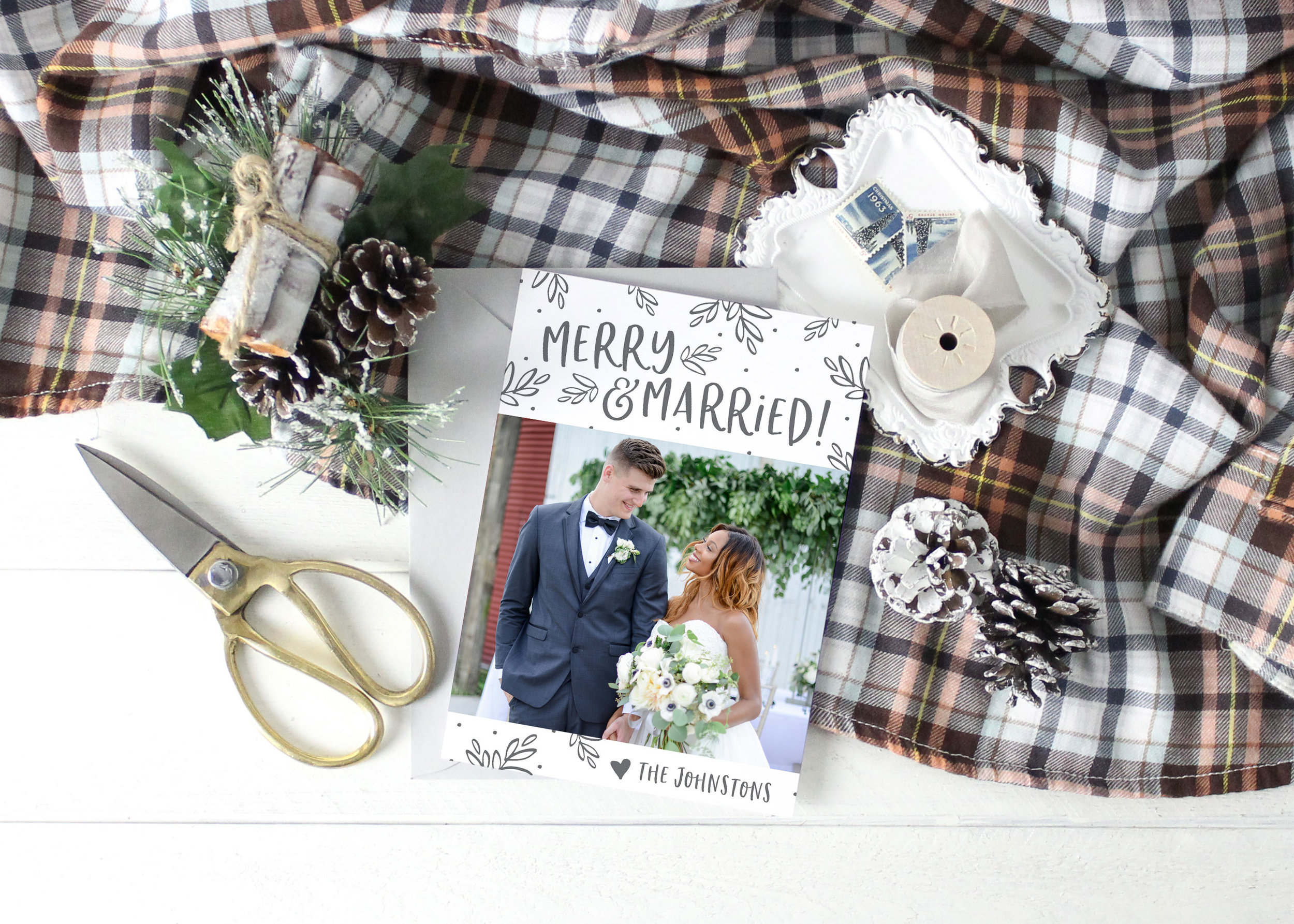 Merry and Married Christmas Card