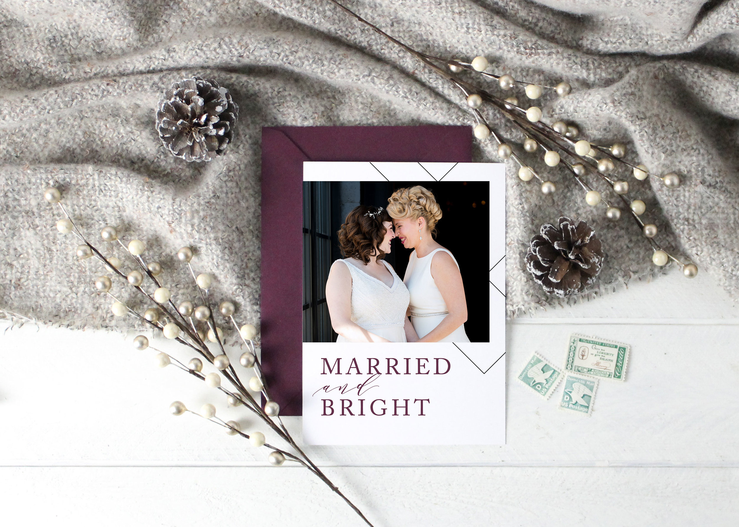 Married and Bright Christmas Card