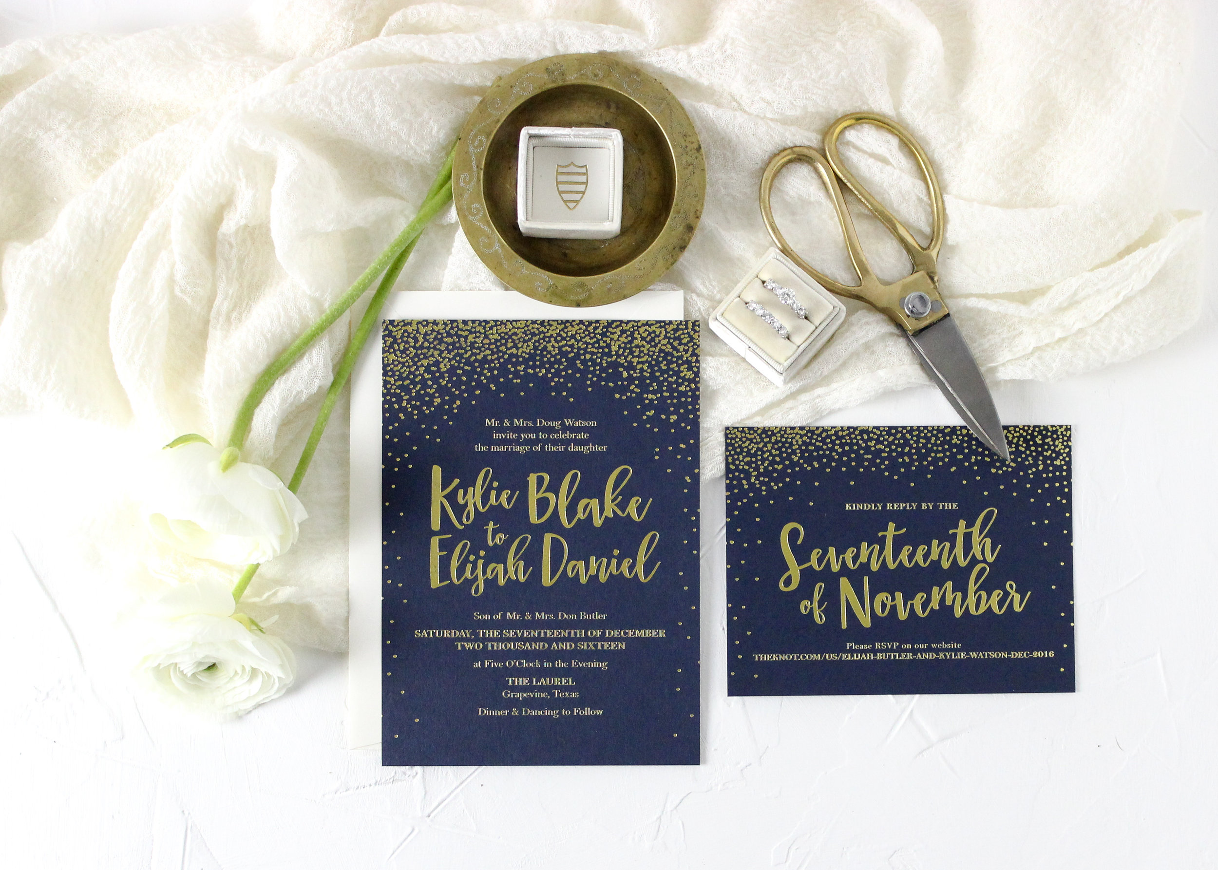 Gold Fold Wedding Invitation