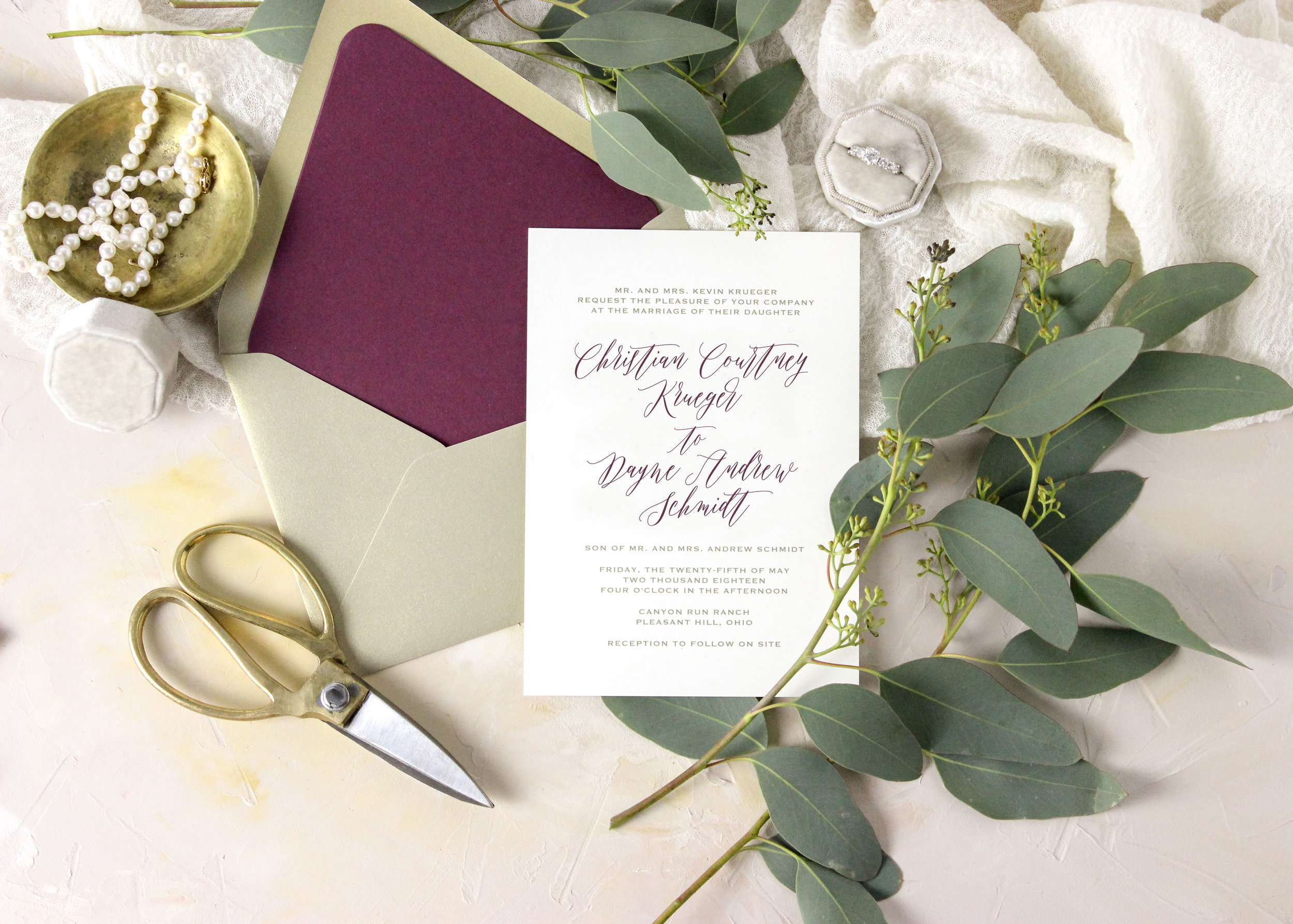Modern calligraphy wedding invitations