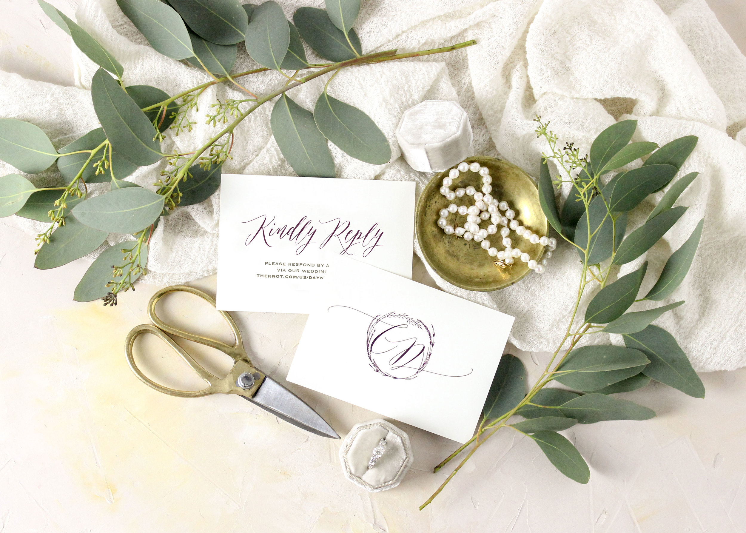 Wedding invitation and monogram reply card
