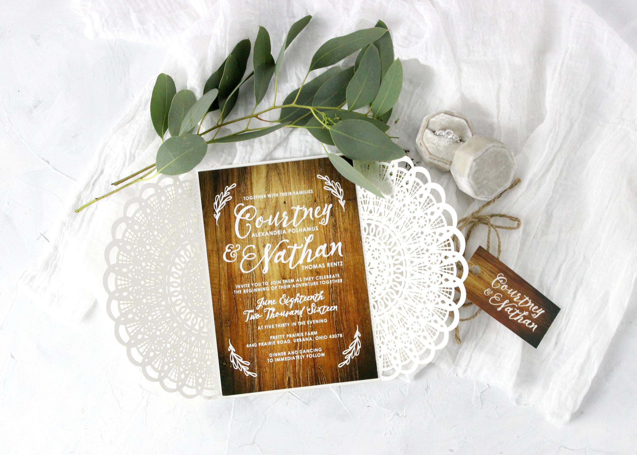 Rustic die cut wedding invitations