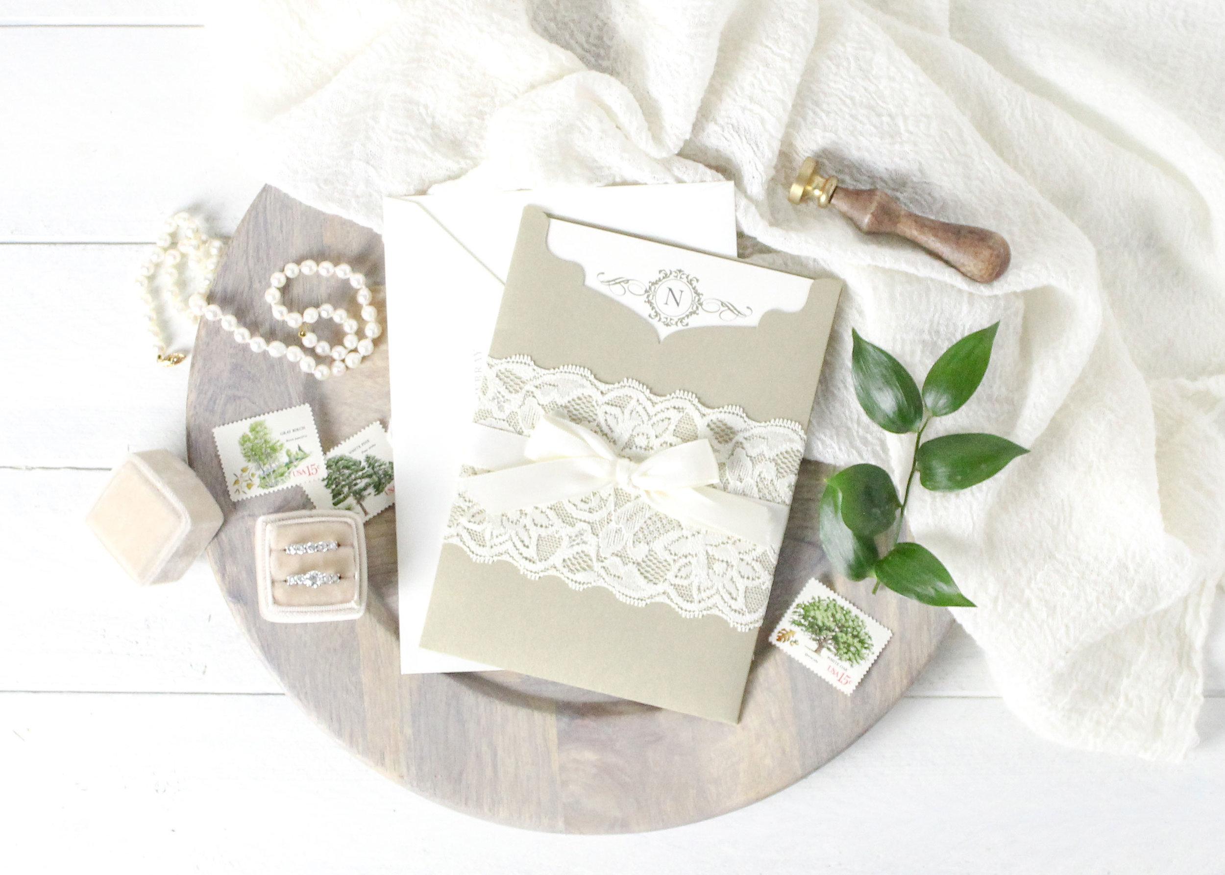 Gold die cut pocket folder wedding invitation