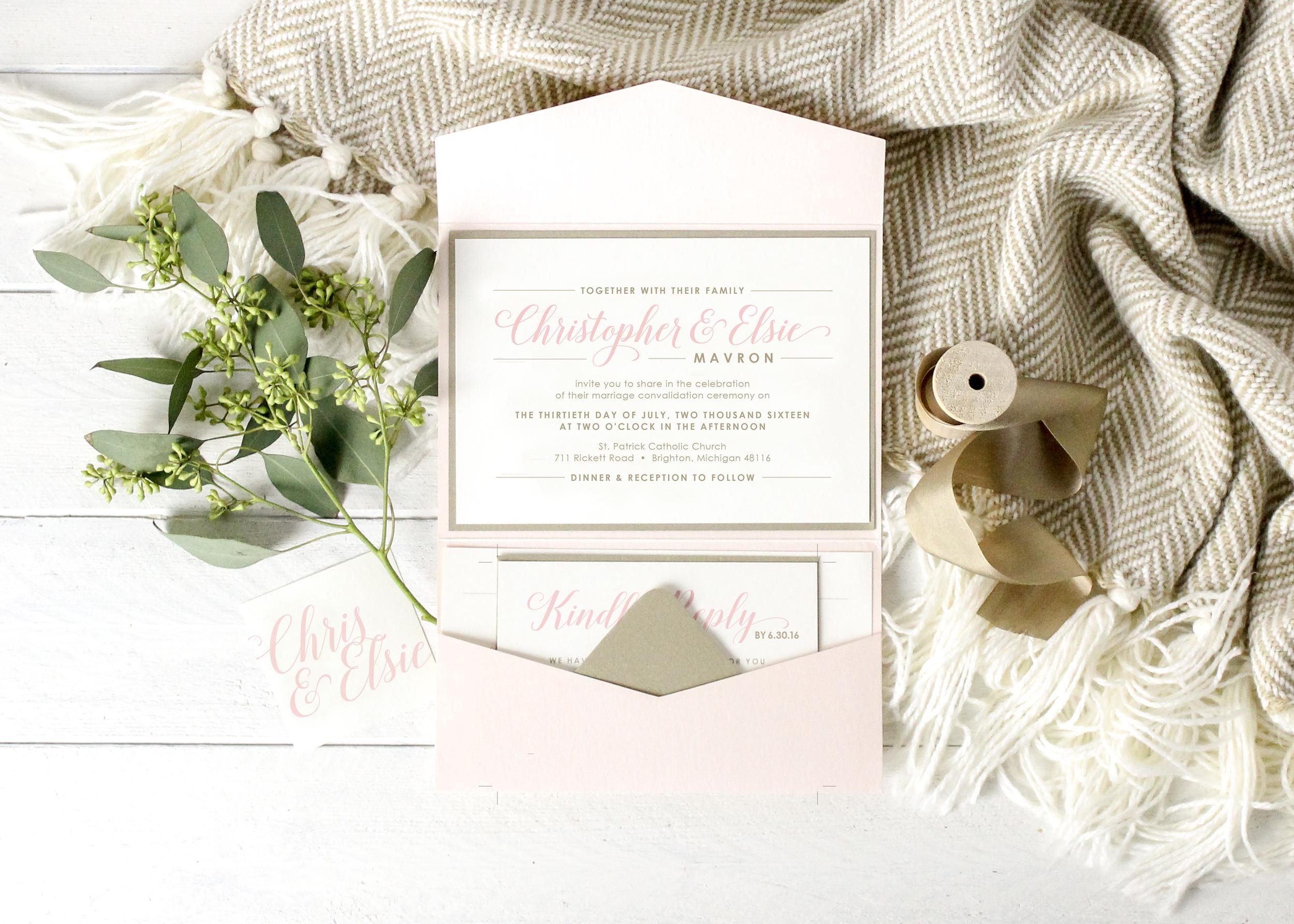 Blush and gold pocket folder wedding invitation