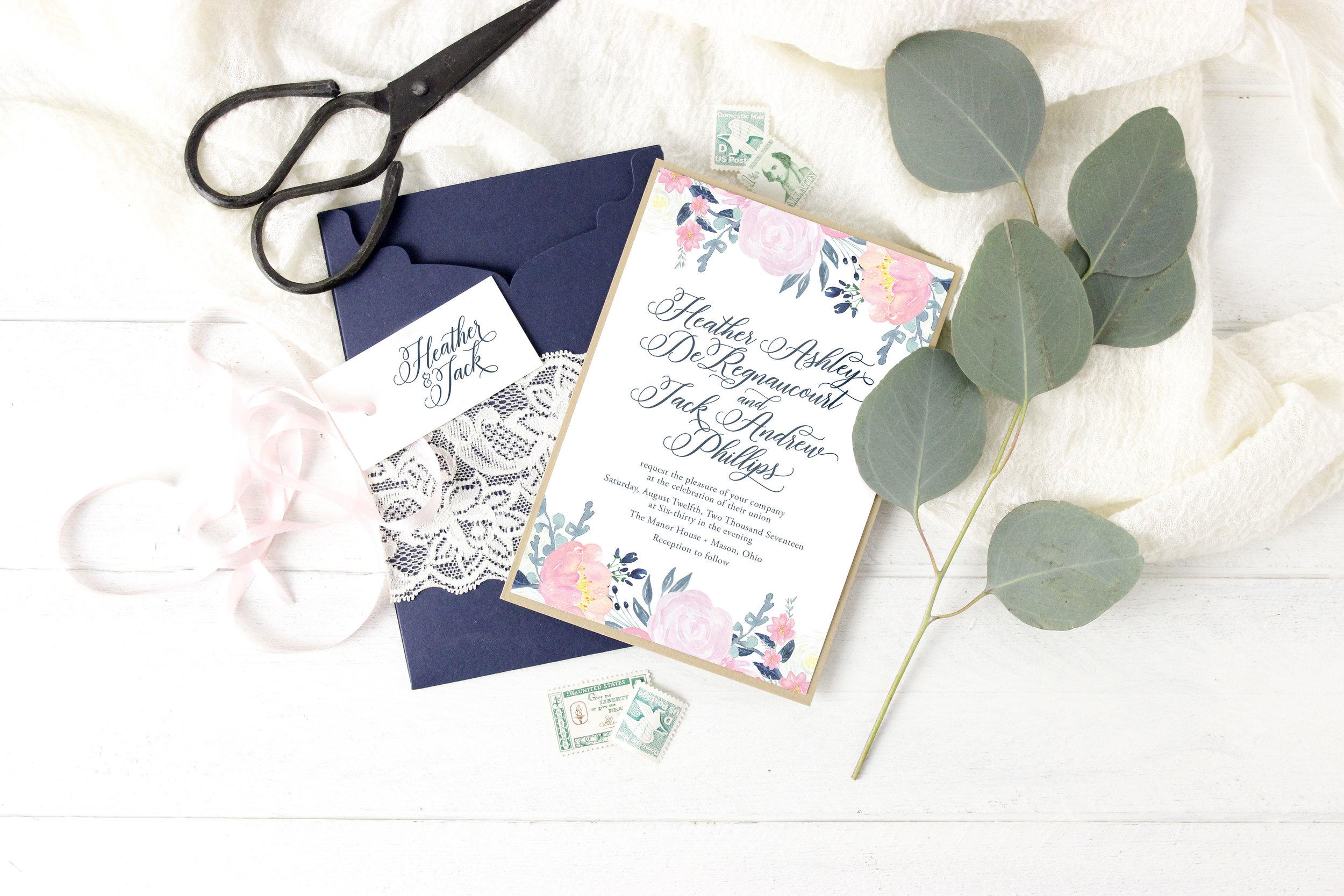Scalloped pocket folder wedding invitation