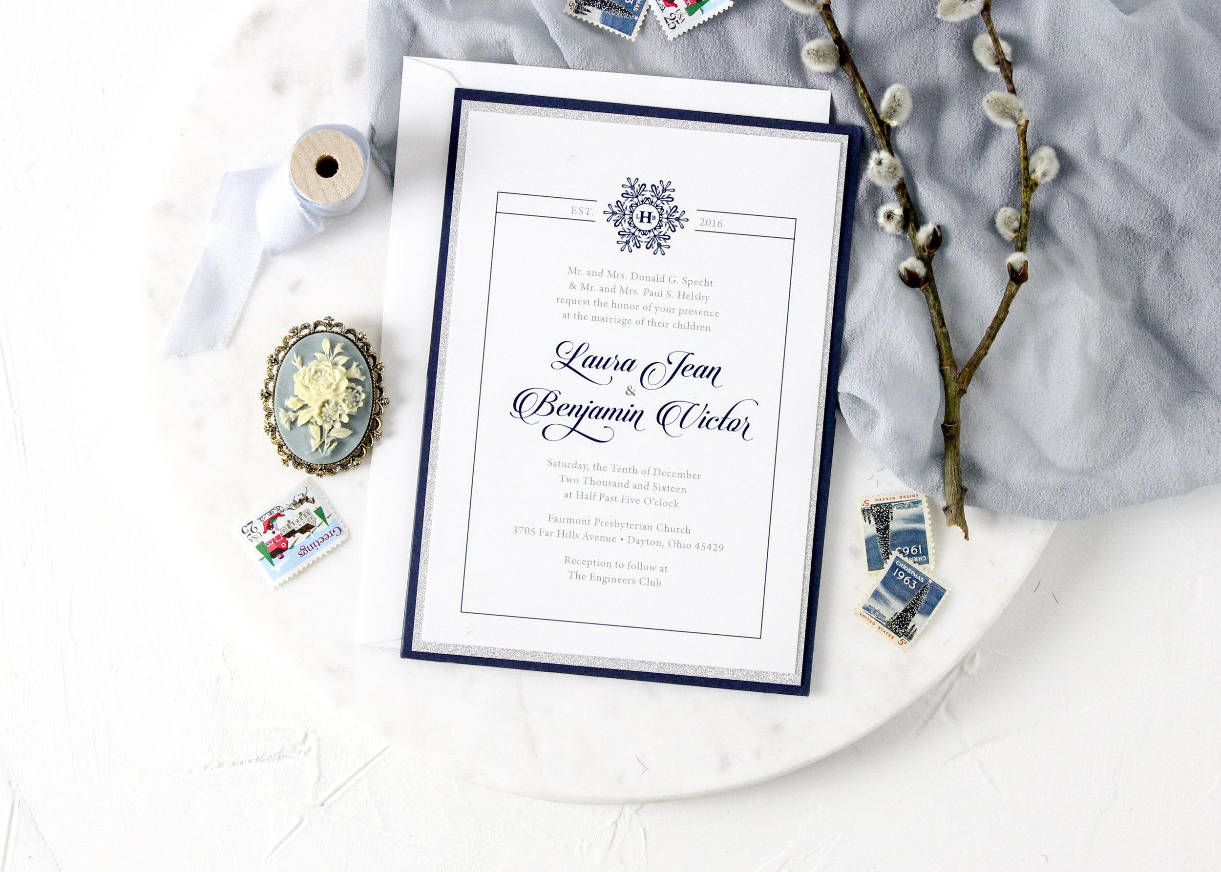 Panel pocket wedding invitation