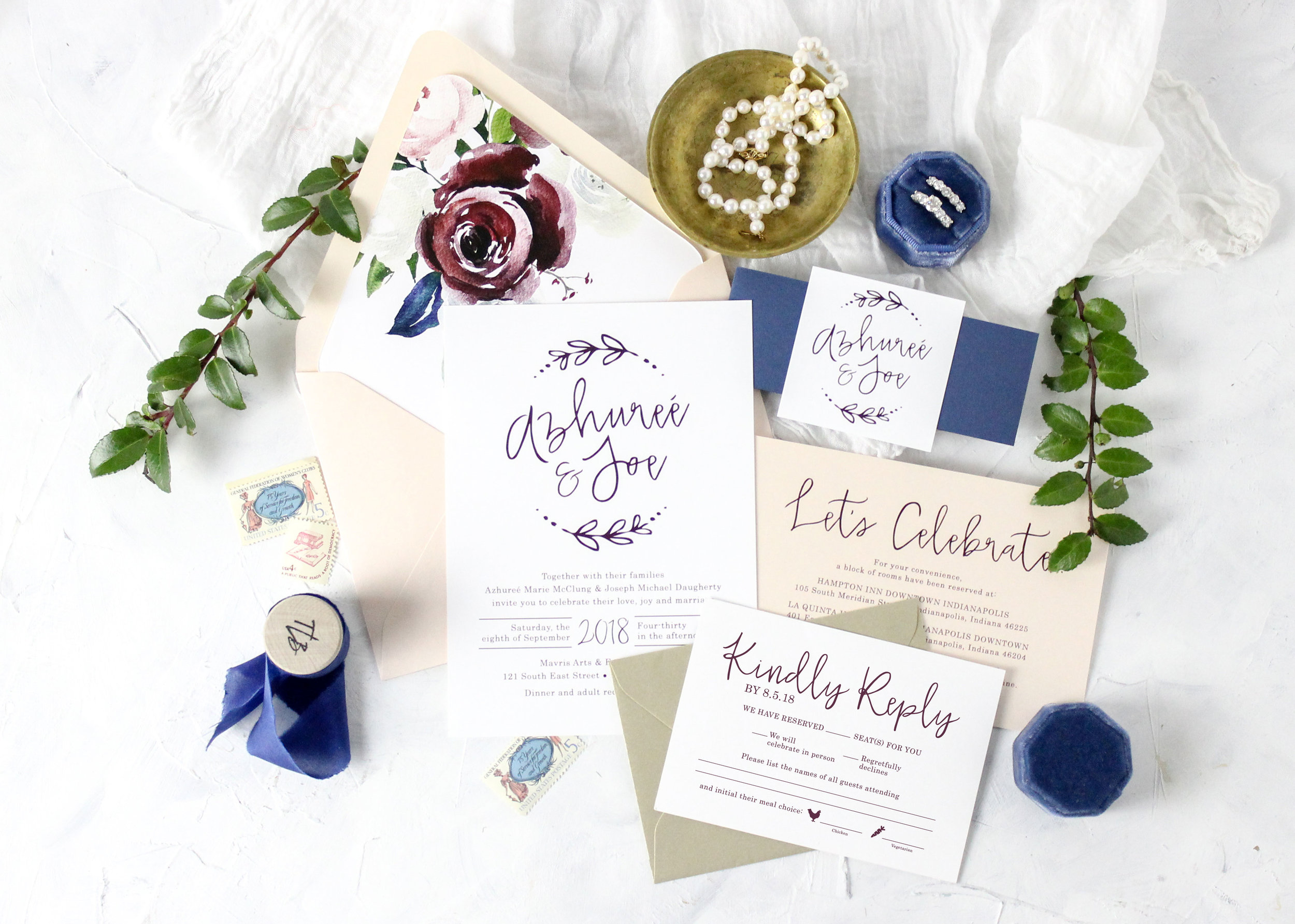 Blue, Burgundy and Blush Wedding Invitations