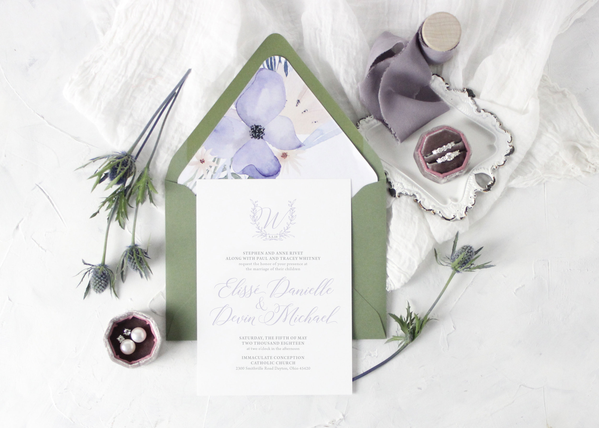 Lavender Monogram Wedding Invitations