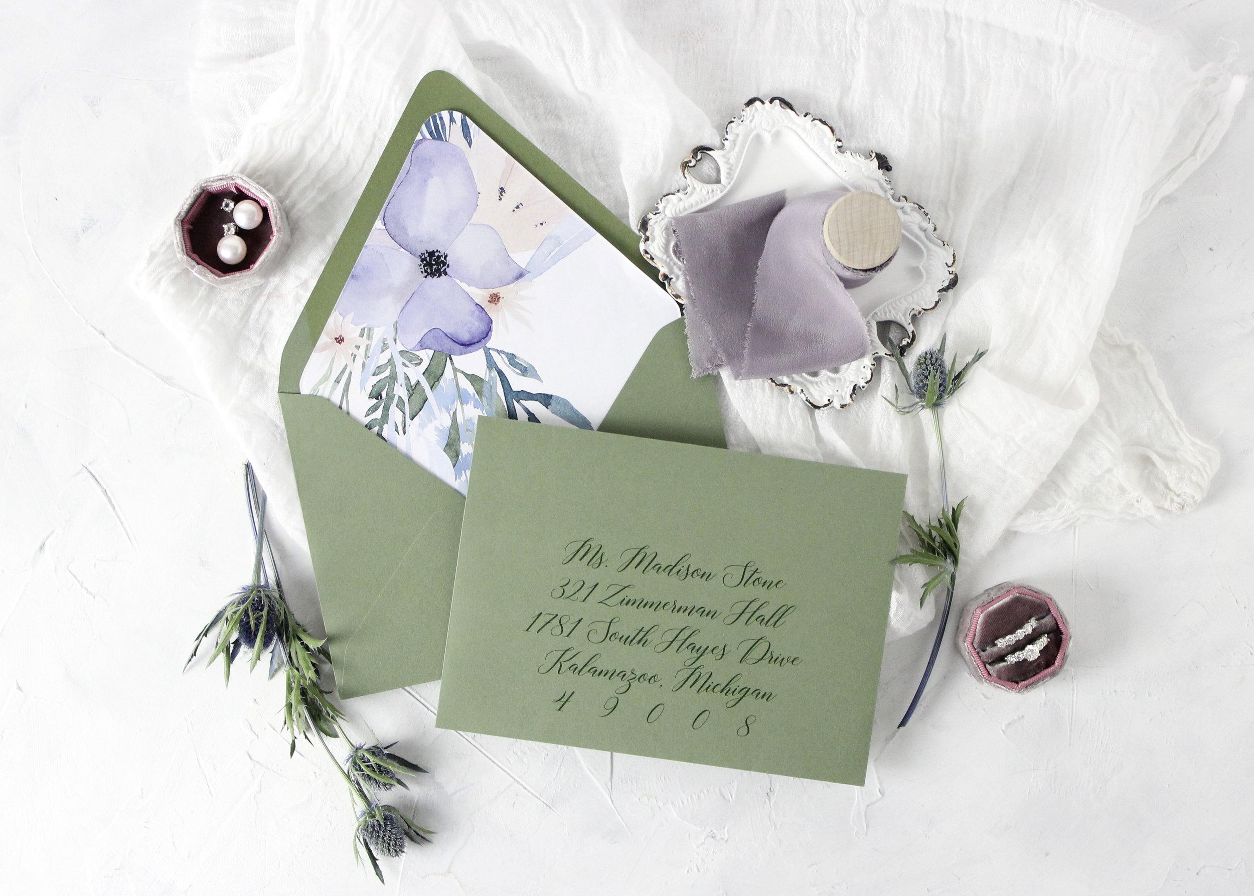 Sage Wedding Invitations with Floral Envelope Liner