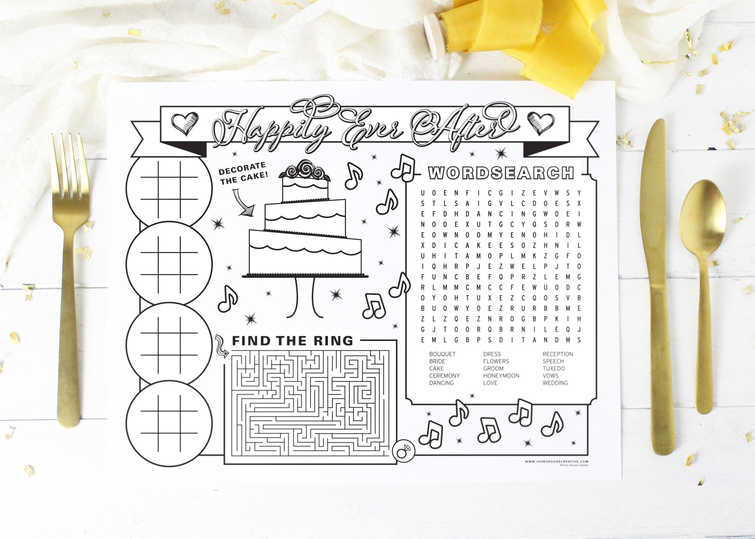 - Printable Wedding Reception Coloring Placemat For Kids — Ivory House  Creative