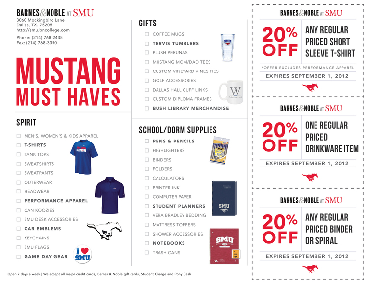 SMU Bookstore Semester Coupon Flyer