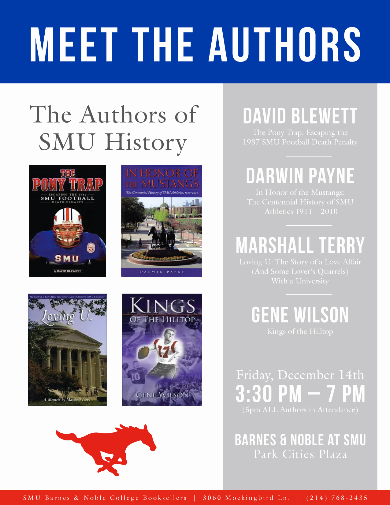 SMU Bookstore Event Flyer