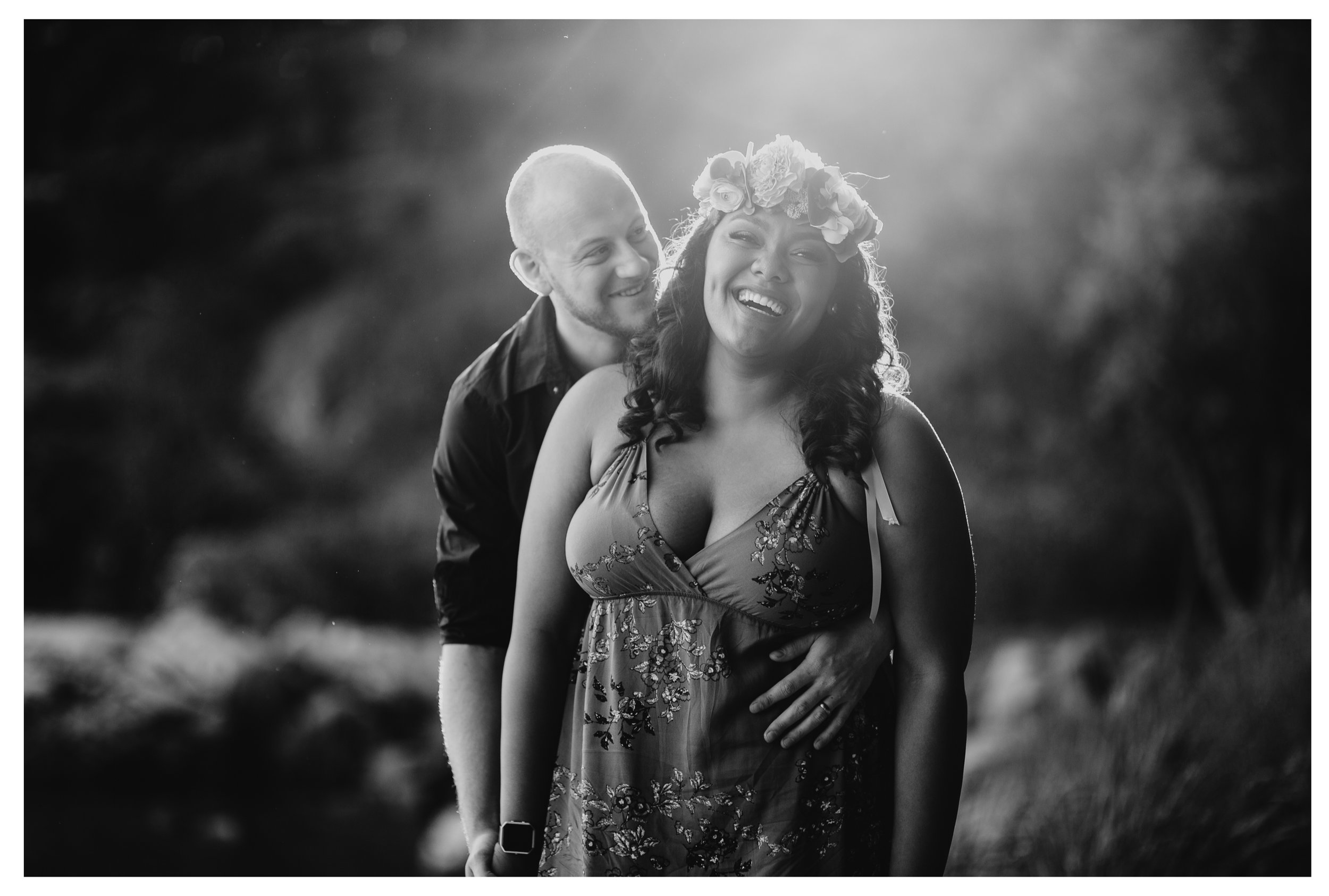 couple girl smile hug vancouver engagement whytecliff park
