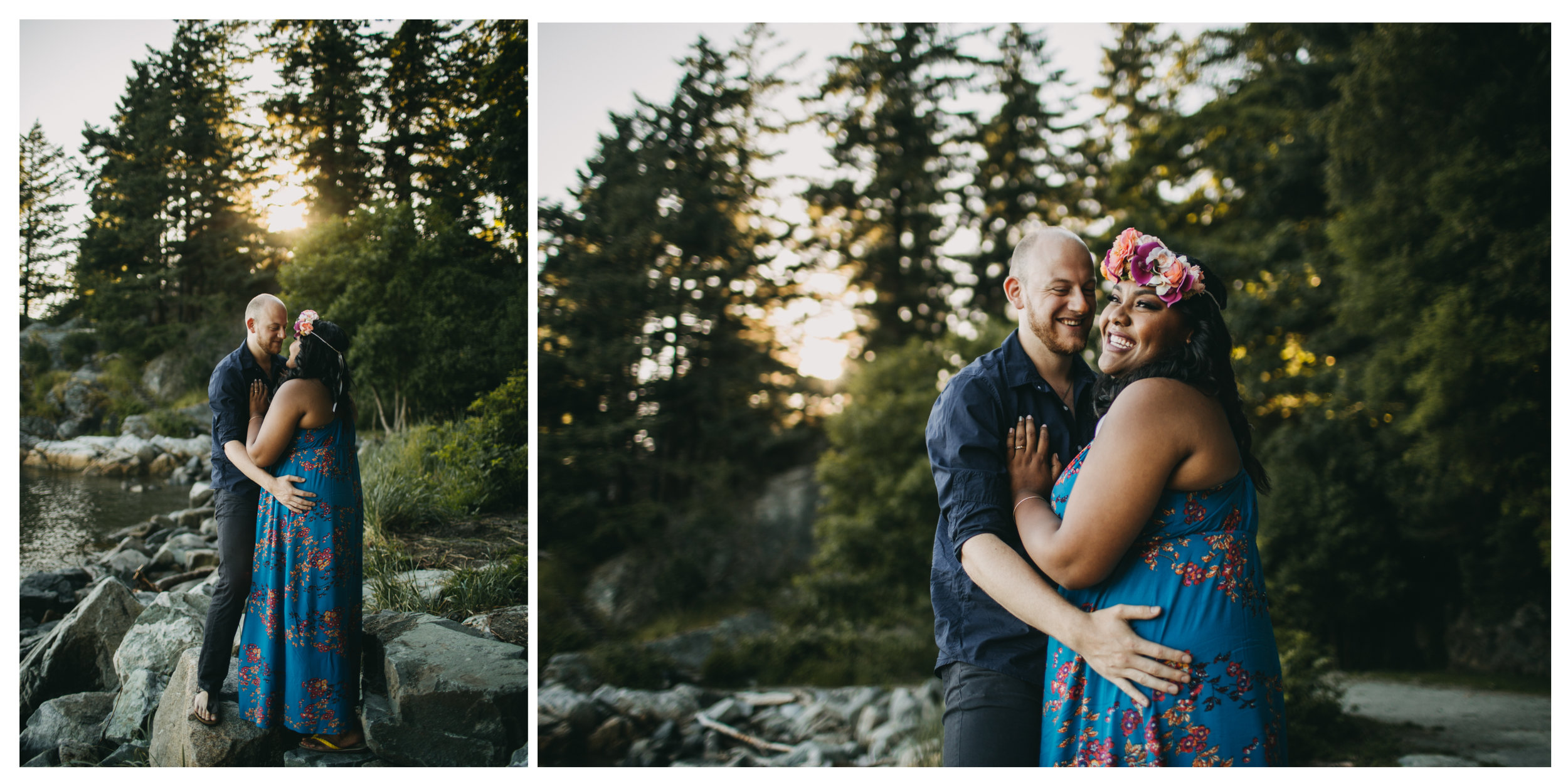 trees beach sunset couple engagement whytecliff park