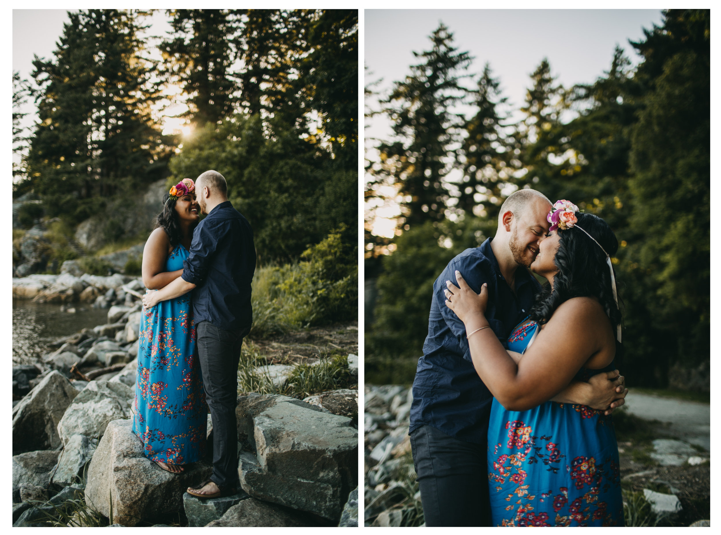 couple rock trees beach engagement whytecliff park