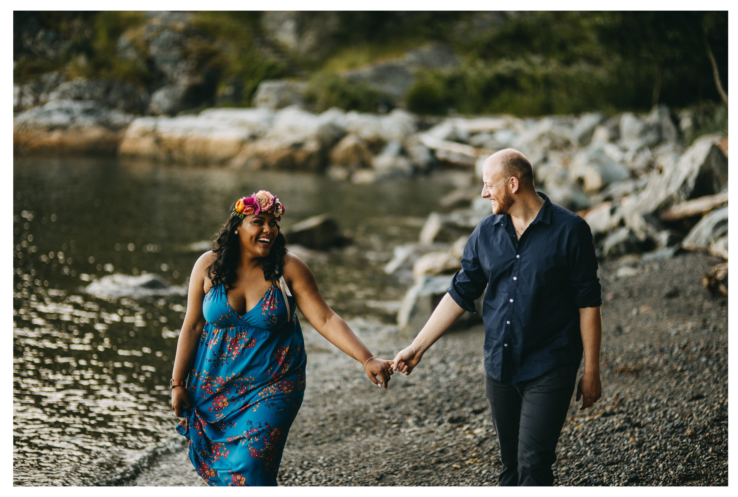 laughing smiling couple bride groom engagement whytecliff park sunset