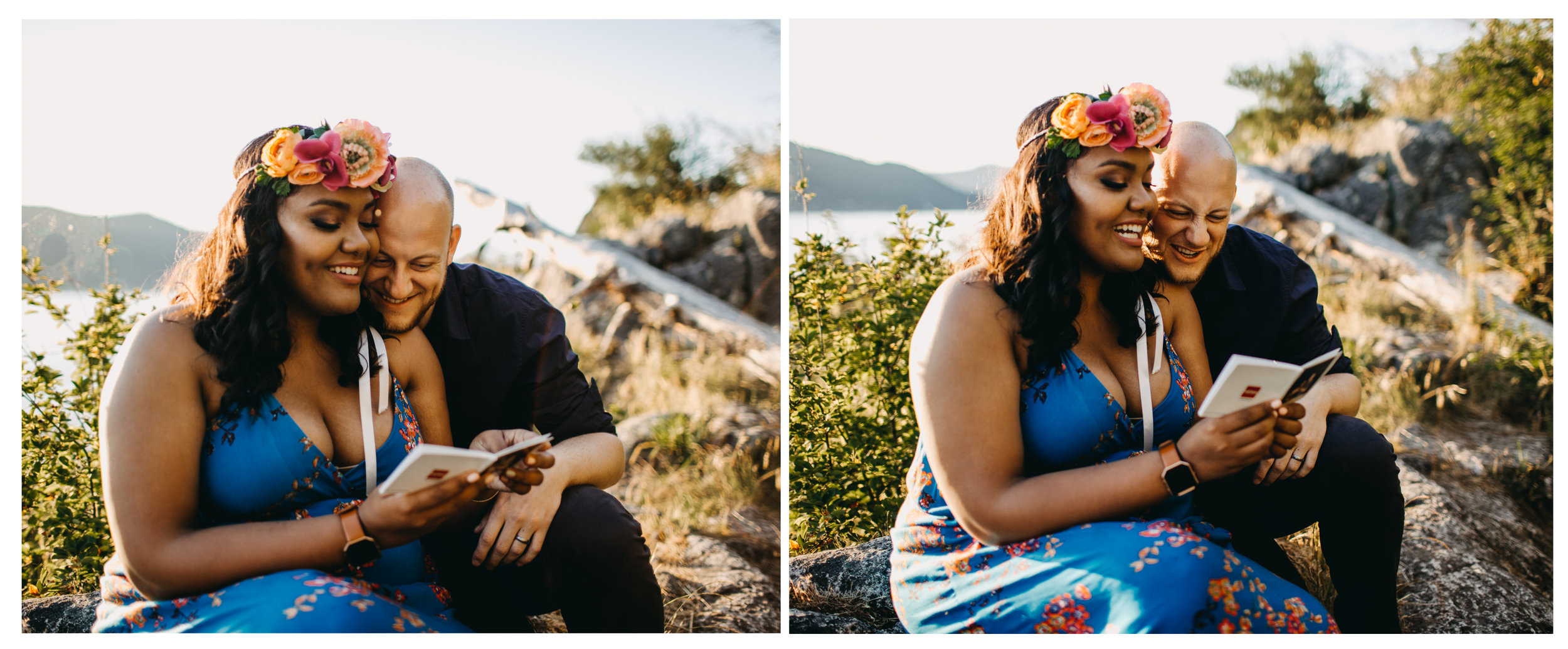 couple photo book engagement whytecliff park
