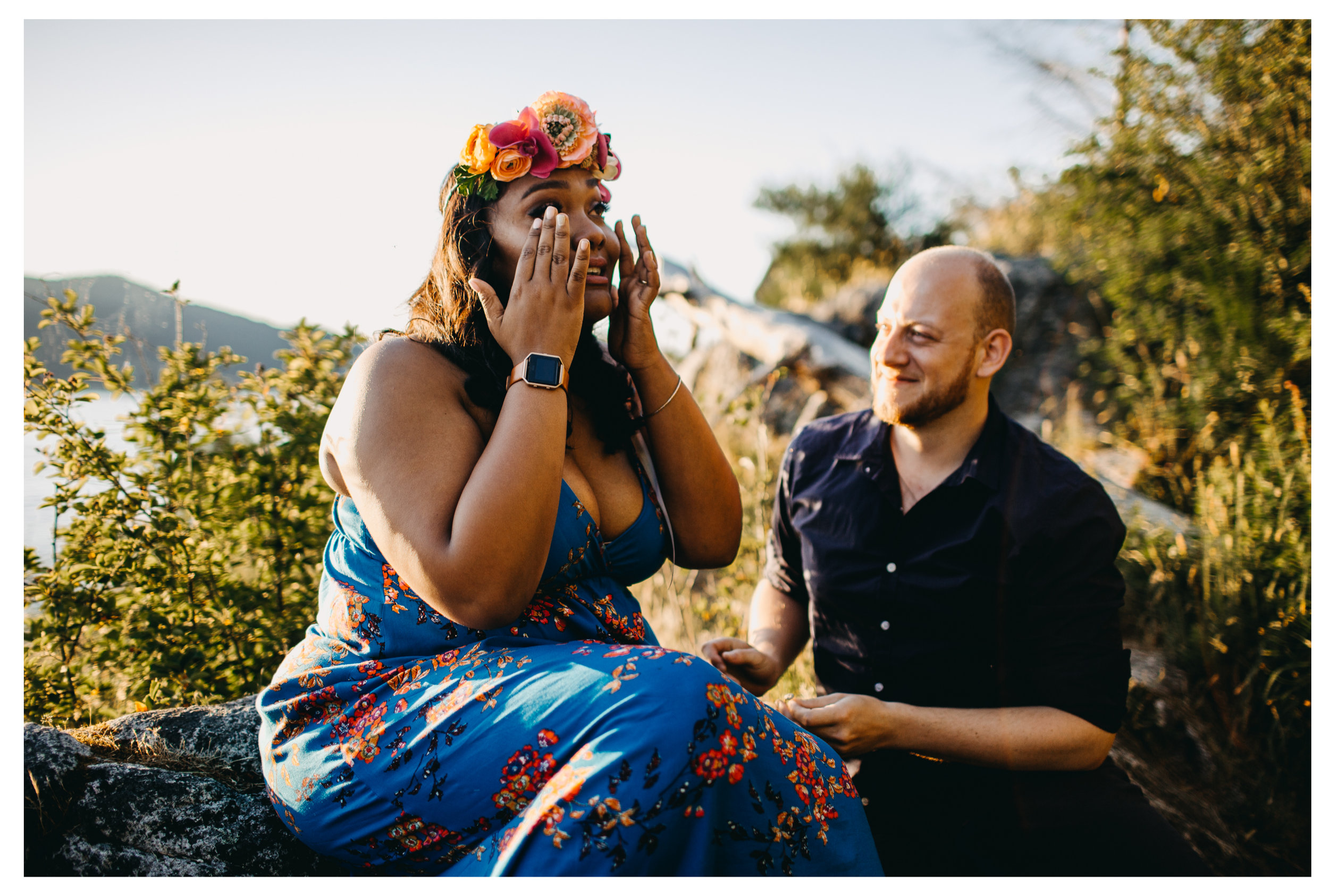 girl cry happy proposal surprise engaged whytecliff park