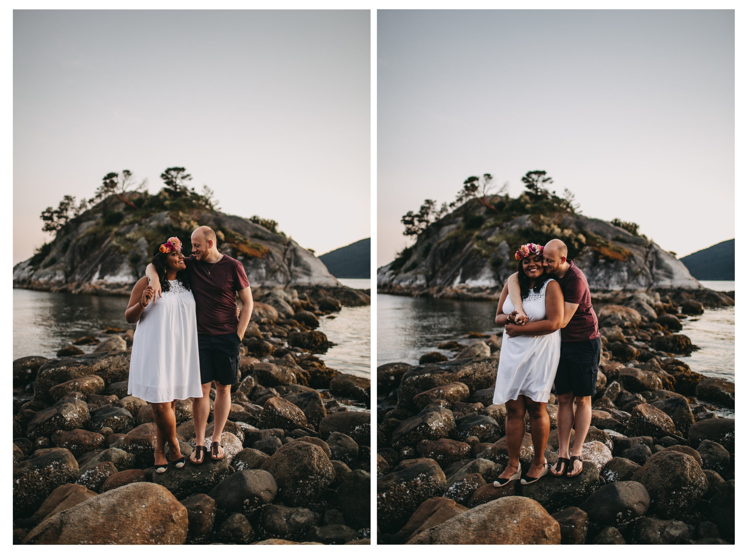 "<img src=""engagement.jpg"" alt=""couple standing on rocks at whytecliff park during sunset "">"