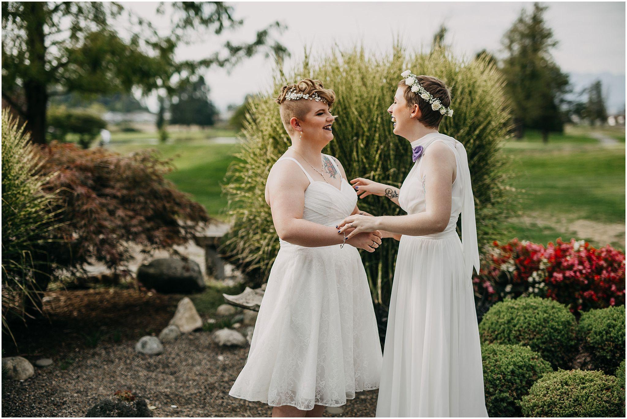 same sex wedding pitt meadows first look reactions