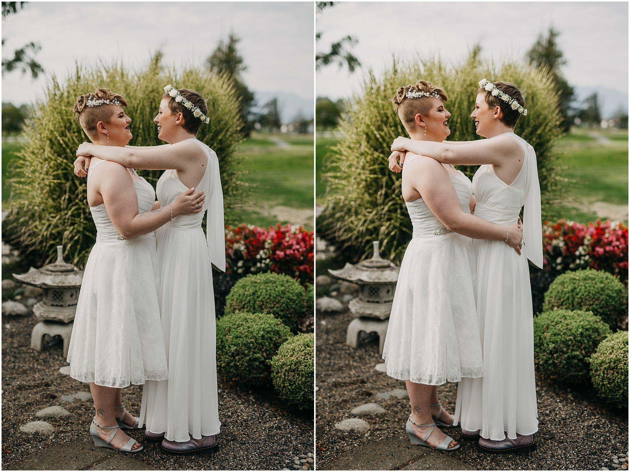 same sex couple first look pitt meadows wedding hug