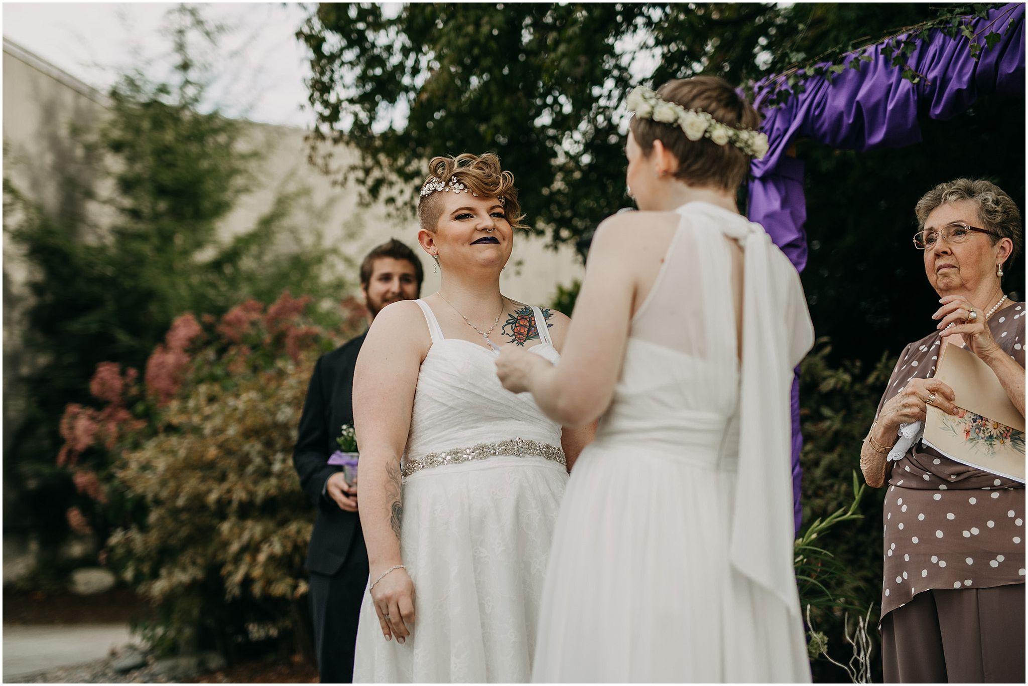bride reaction to vow exchange same sex couple