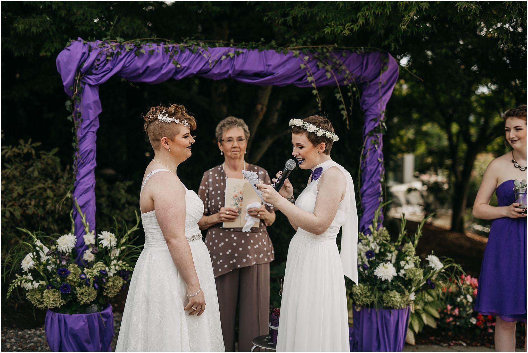 same sex couple vow exchange wedding ceremony