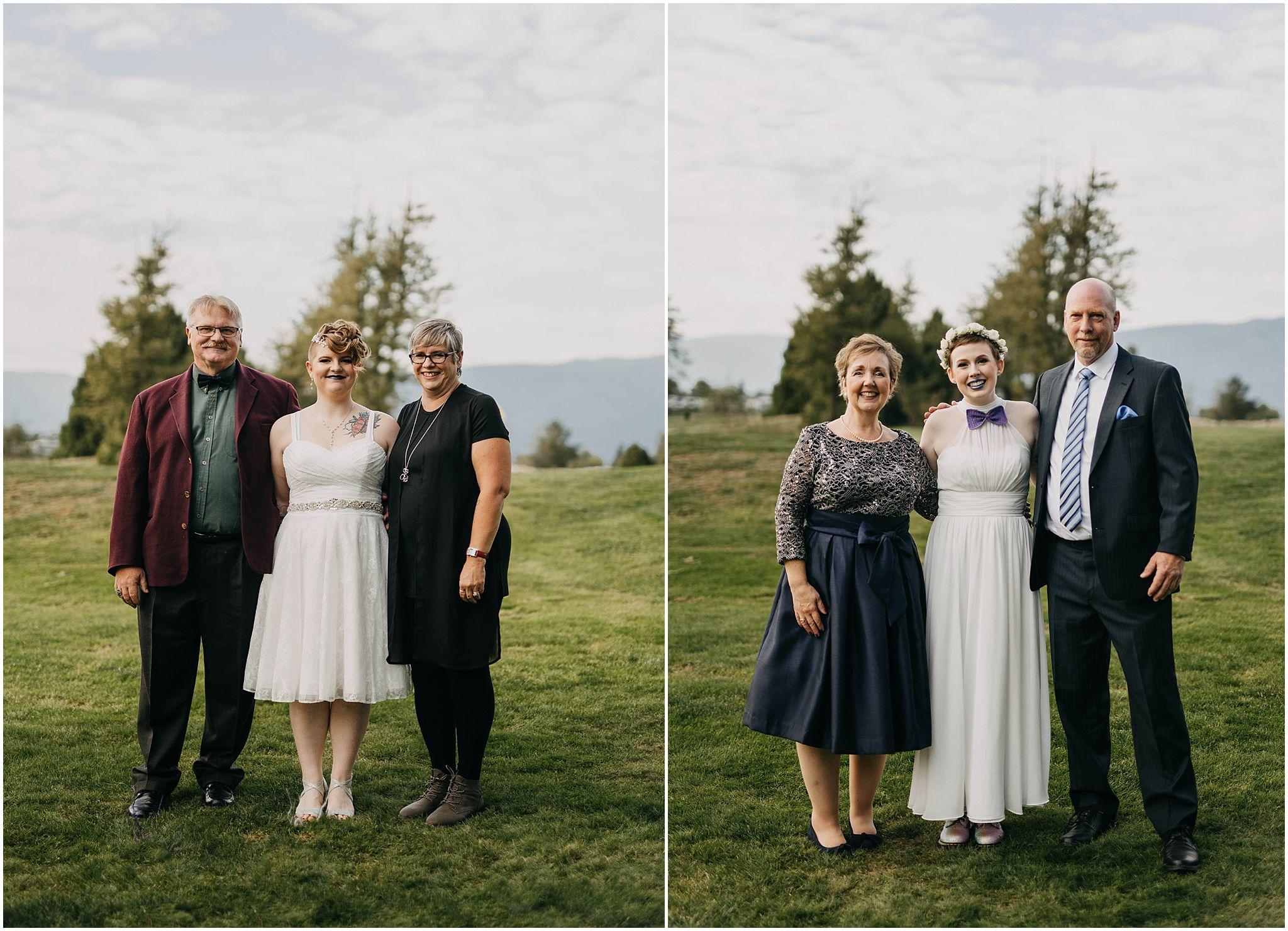 couple with family photos pitt meadows wedding