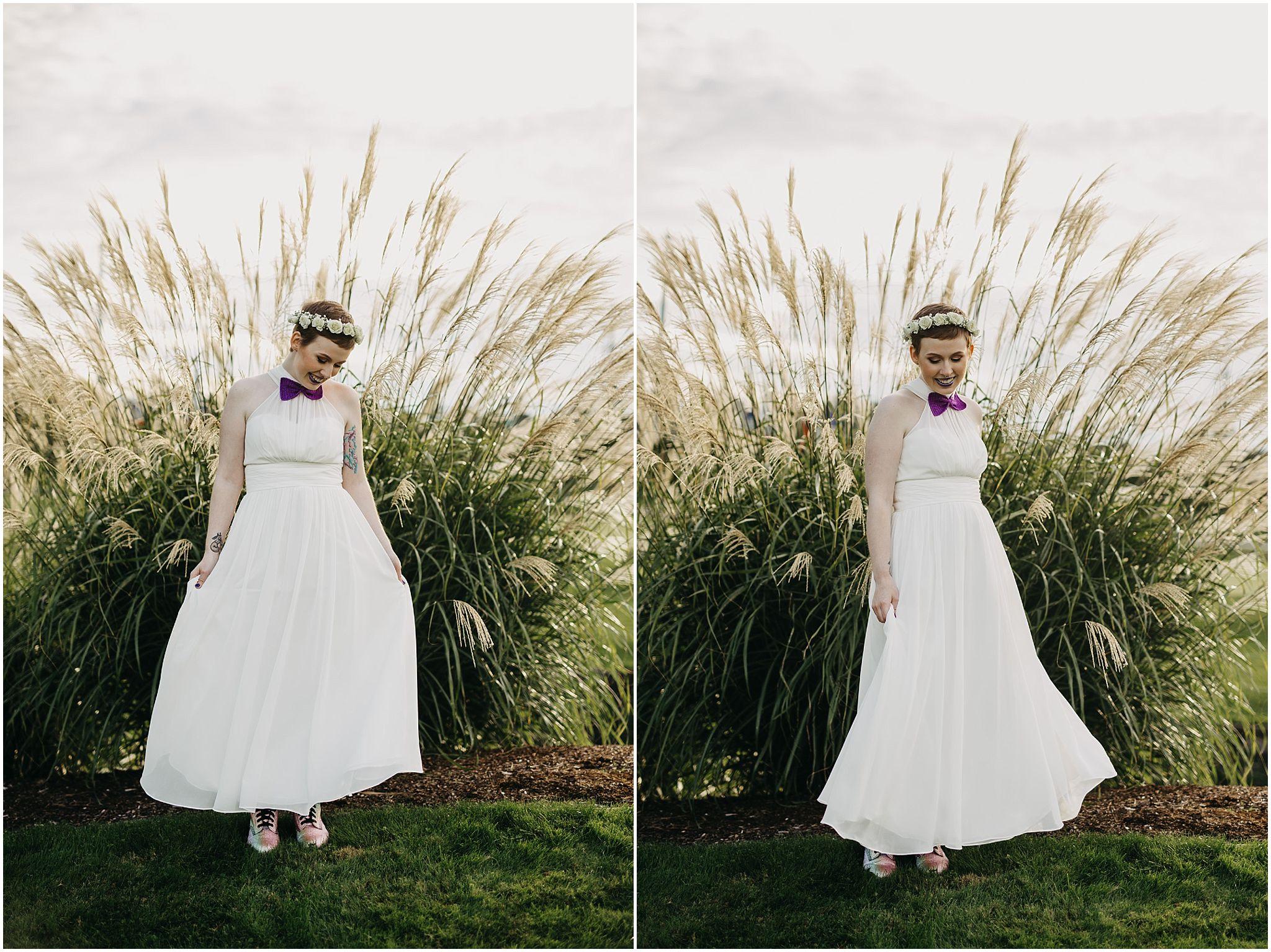 bride spinning wedding dress outdoor pitt meadows wedding