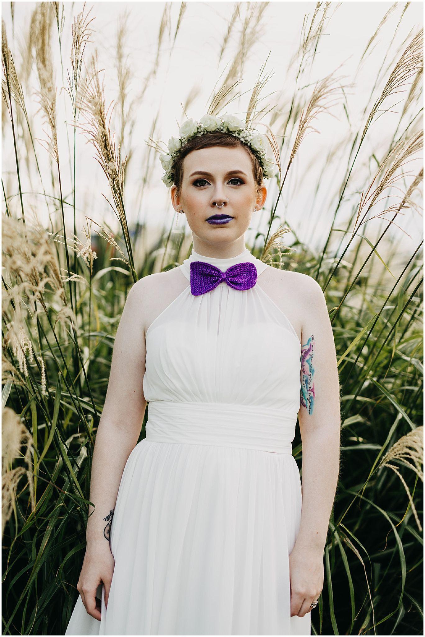 bride wedding dress flower crown crochet tie