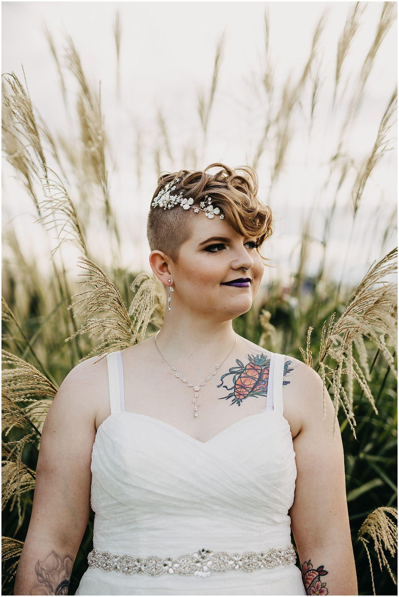 bride hair jewelry wedding details same sex couple wedding