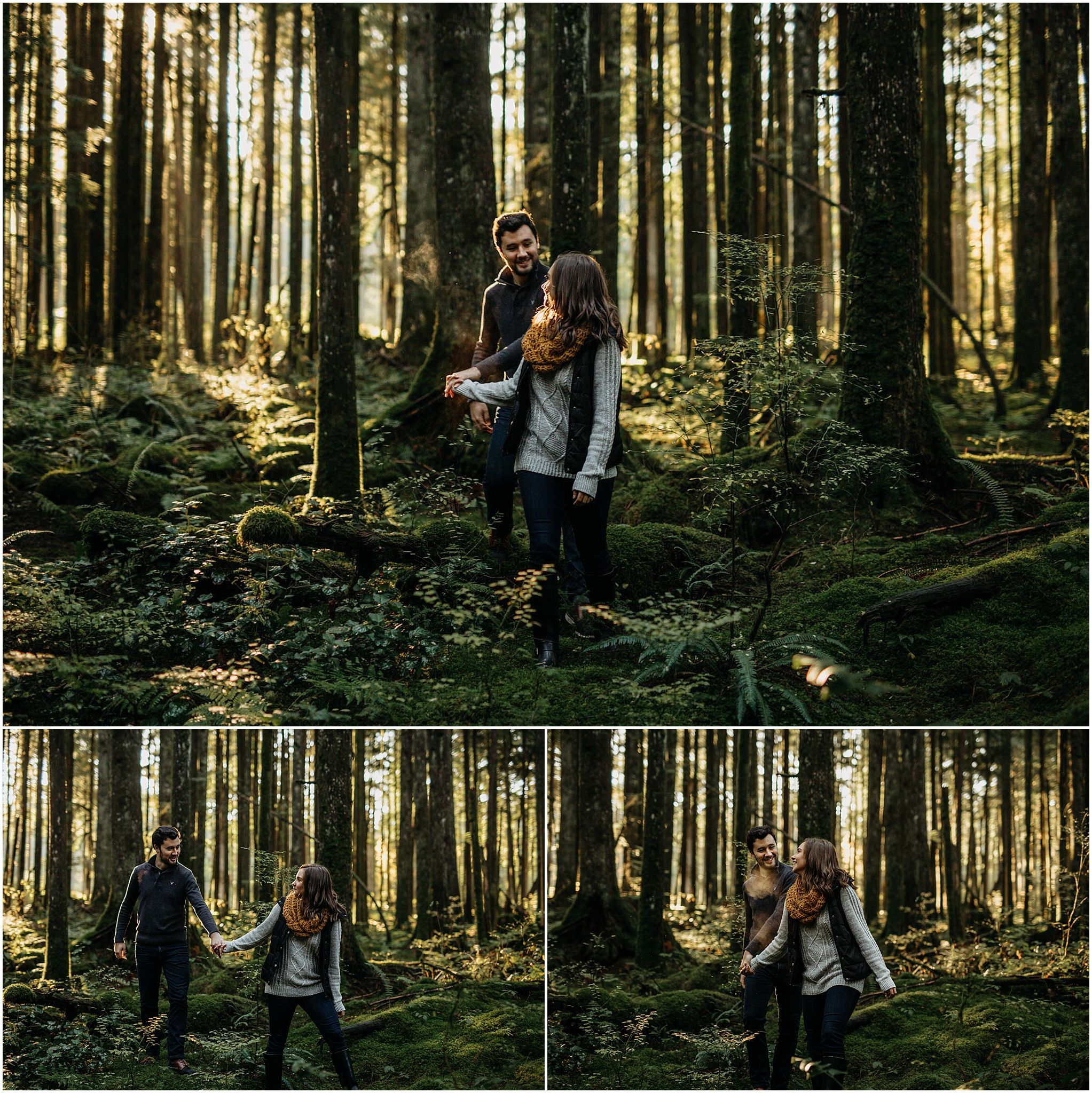 couple holding hands walking forest mossy sunshine engagement