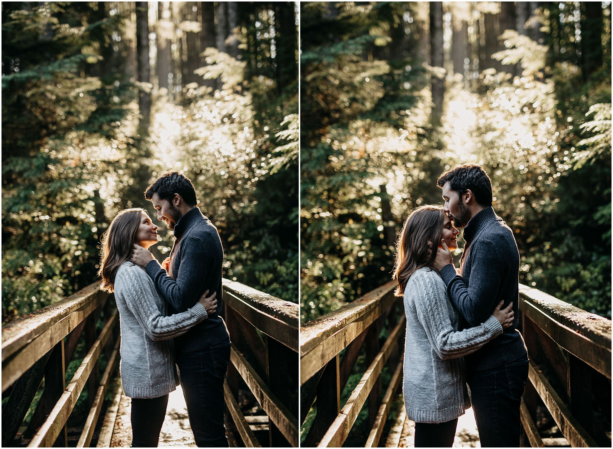 couple kiss on bridge sun shining through forest