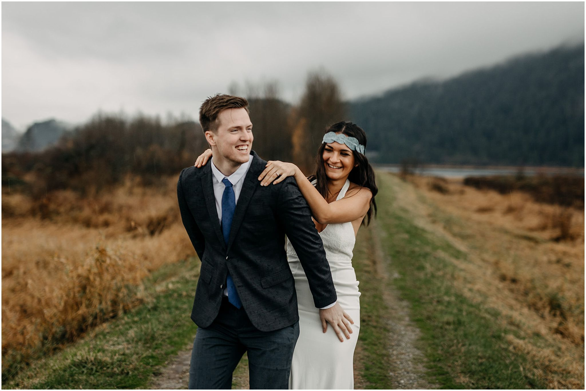 girl fall piggyback couple candid moment pitt lake engagement