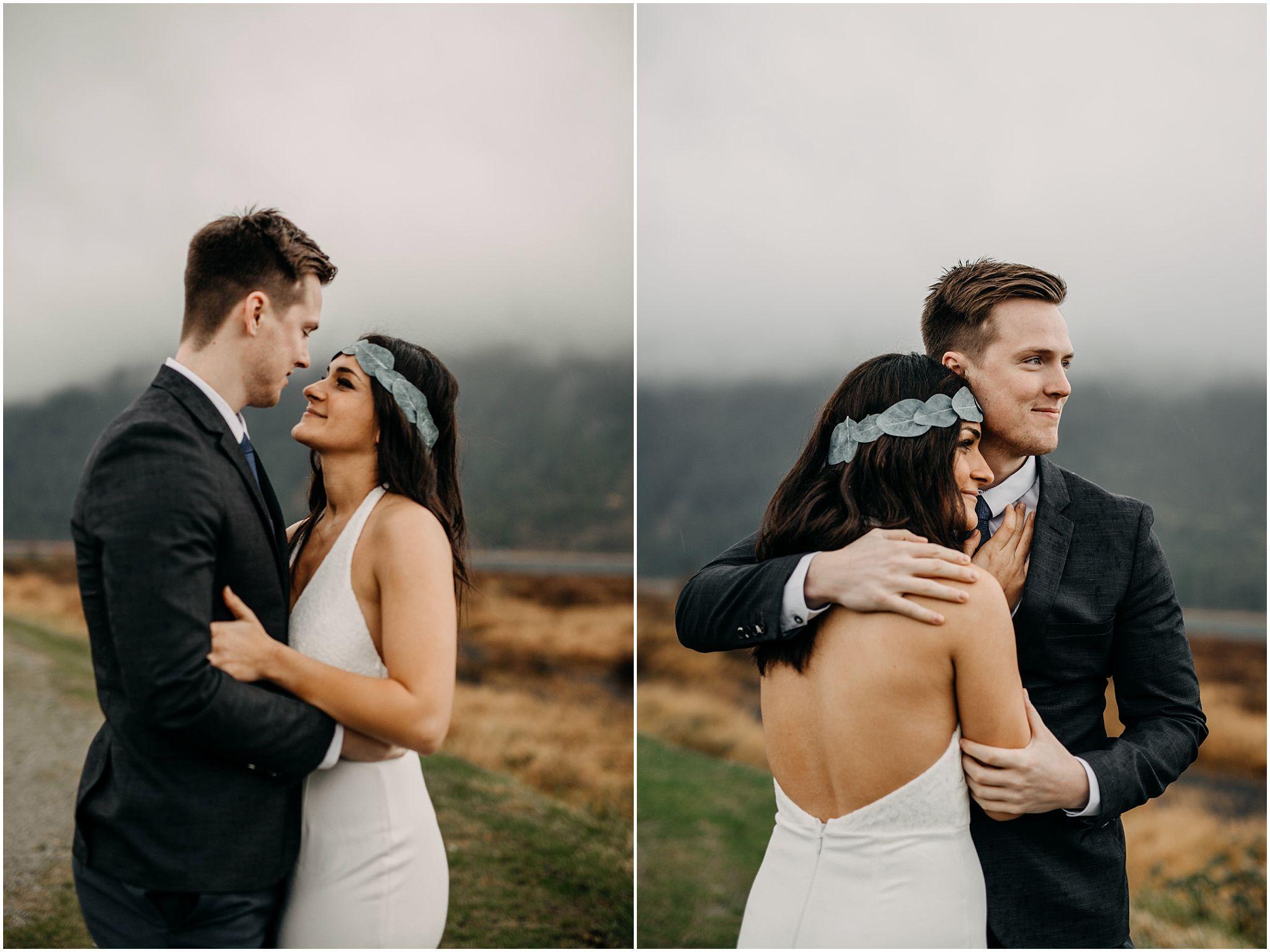 bride flower crown hug groom pitt lake