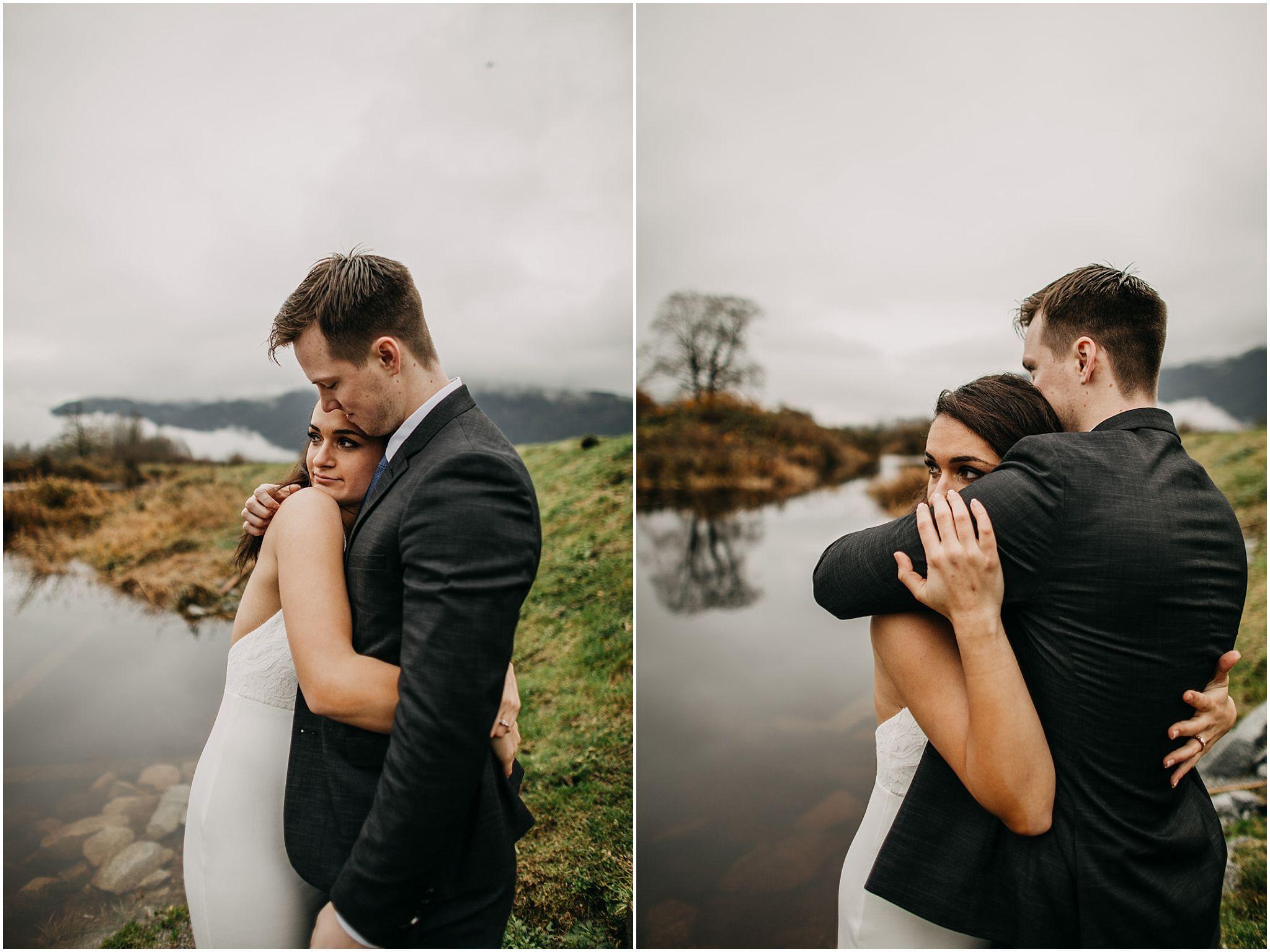 couple bear hug engagement pitt lake intimate moment