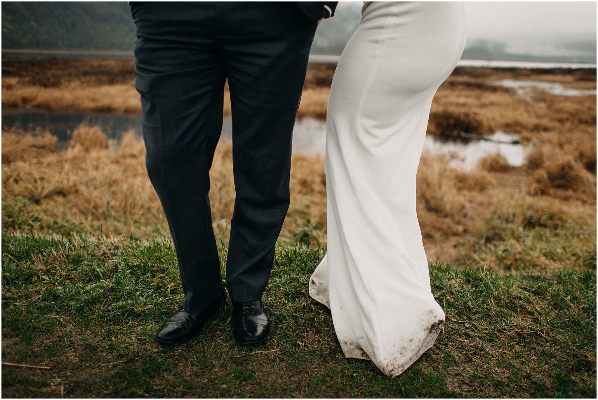 bride's dirty wedding dress grooms shoes pants pitt lake
