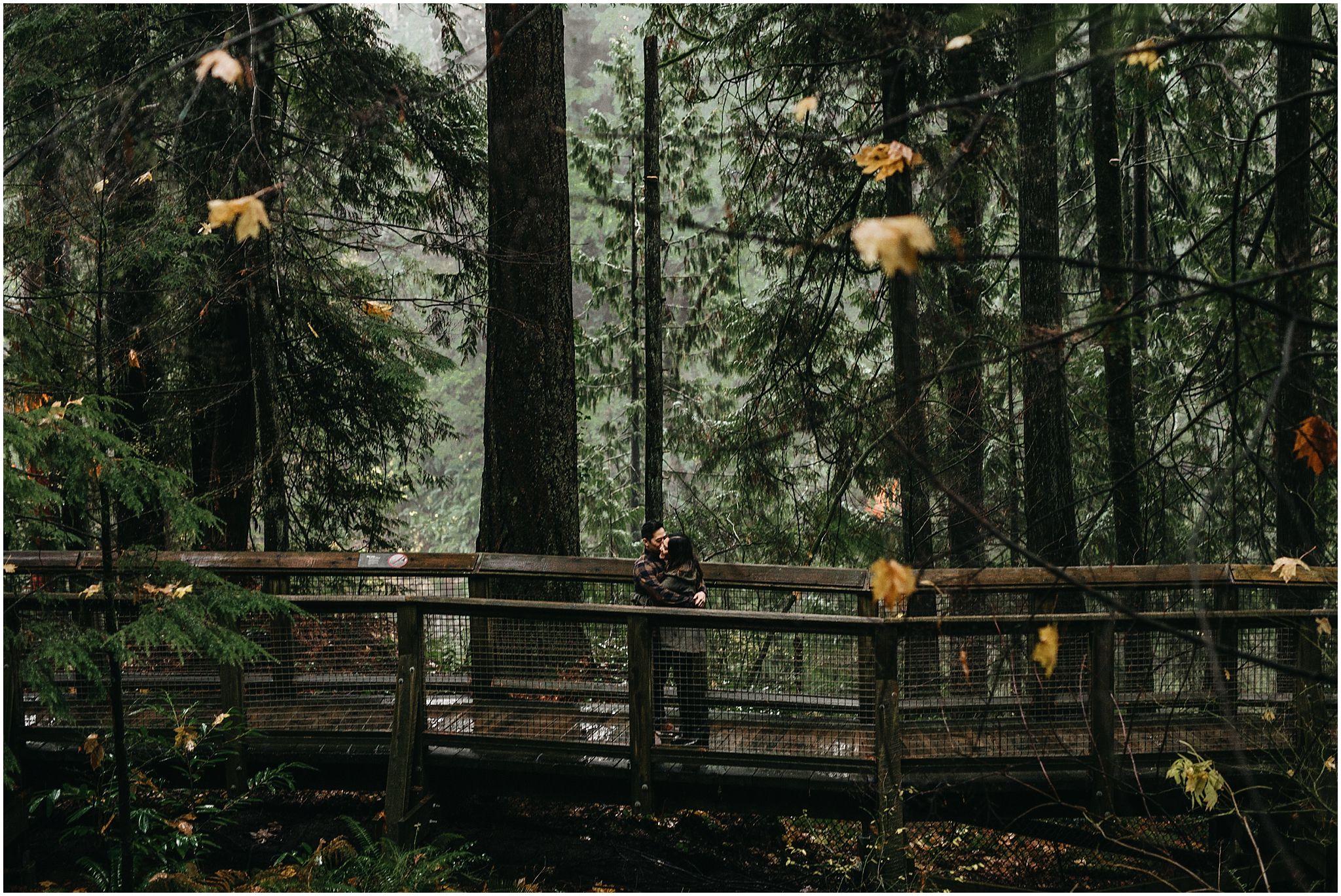 couple in forest nature walk capilano suspension bridge engagement photos