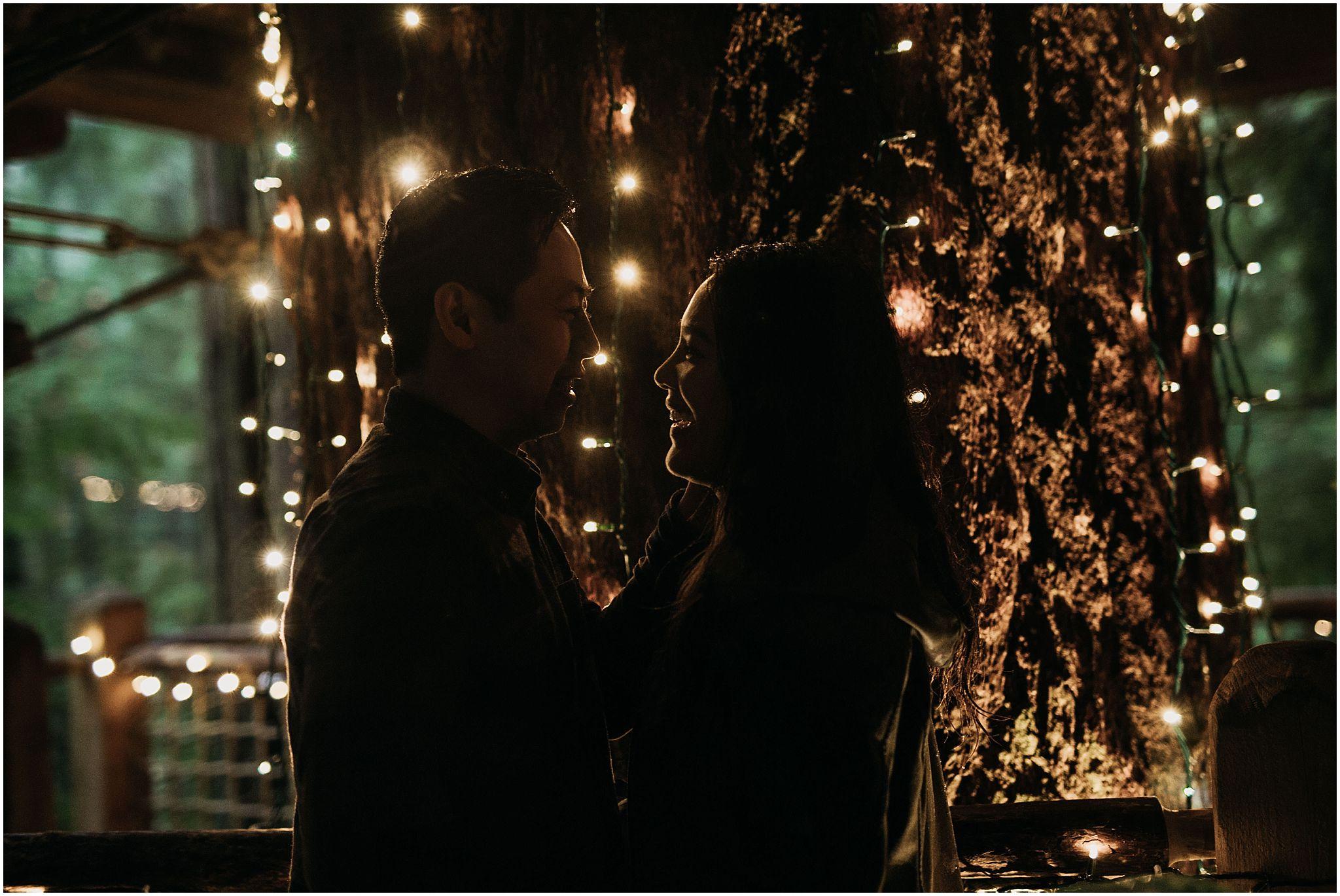 capilano suspension bridge canyon lights couple engagement silhouette