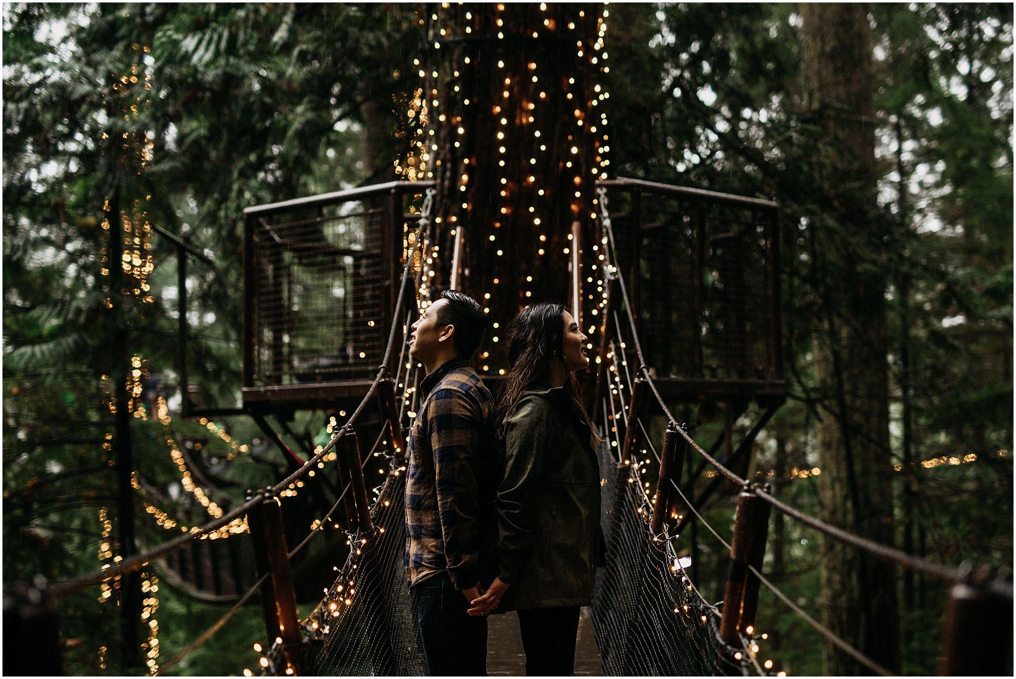 capilano suspension bridge canyon lights treetop adventures engagement