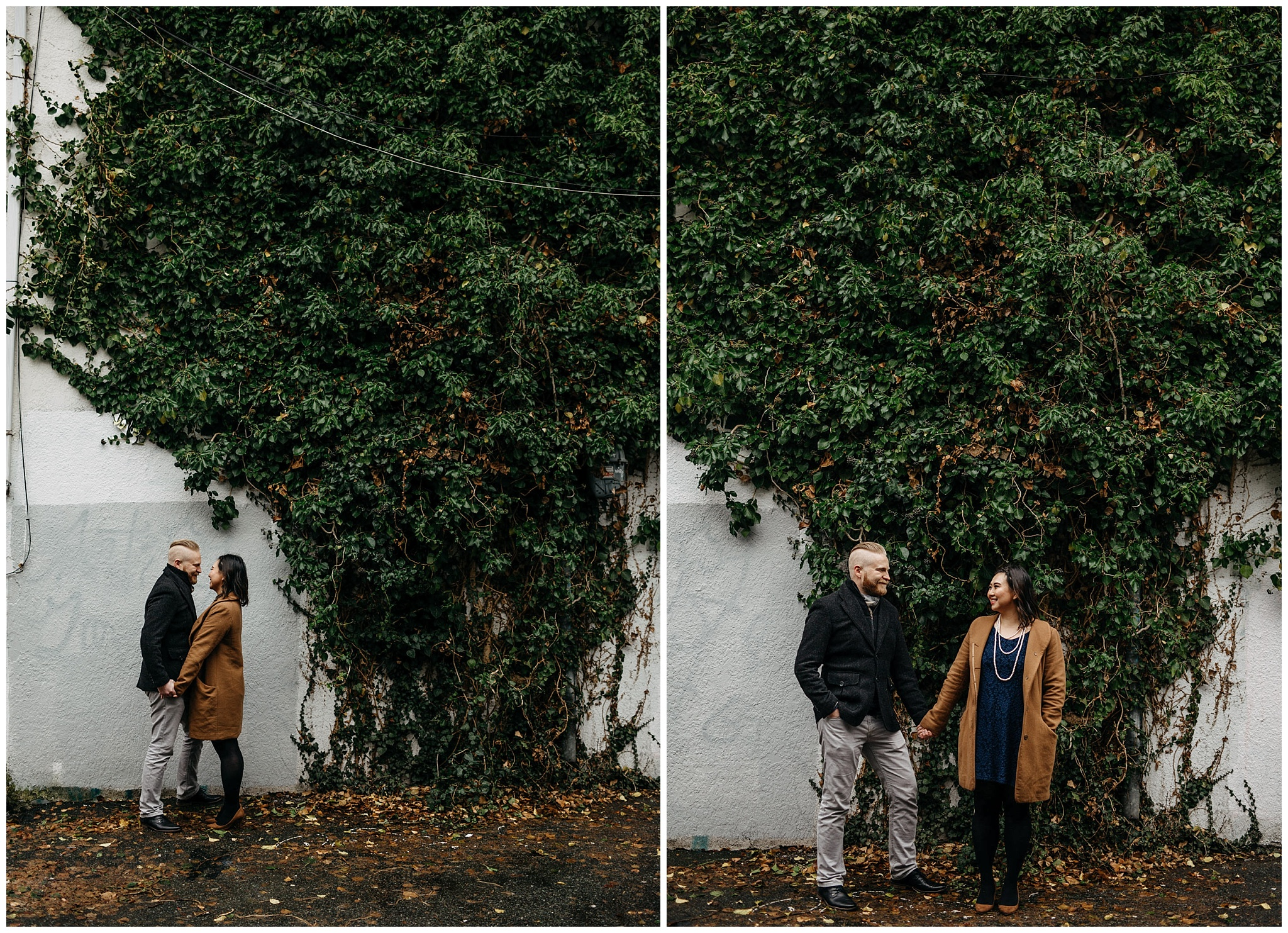 engaged couple in vancouver alley wall covered with ivy