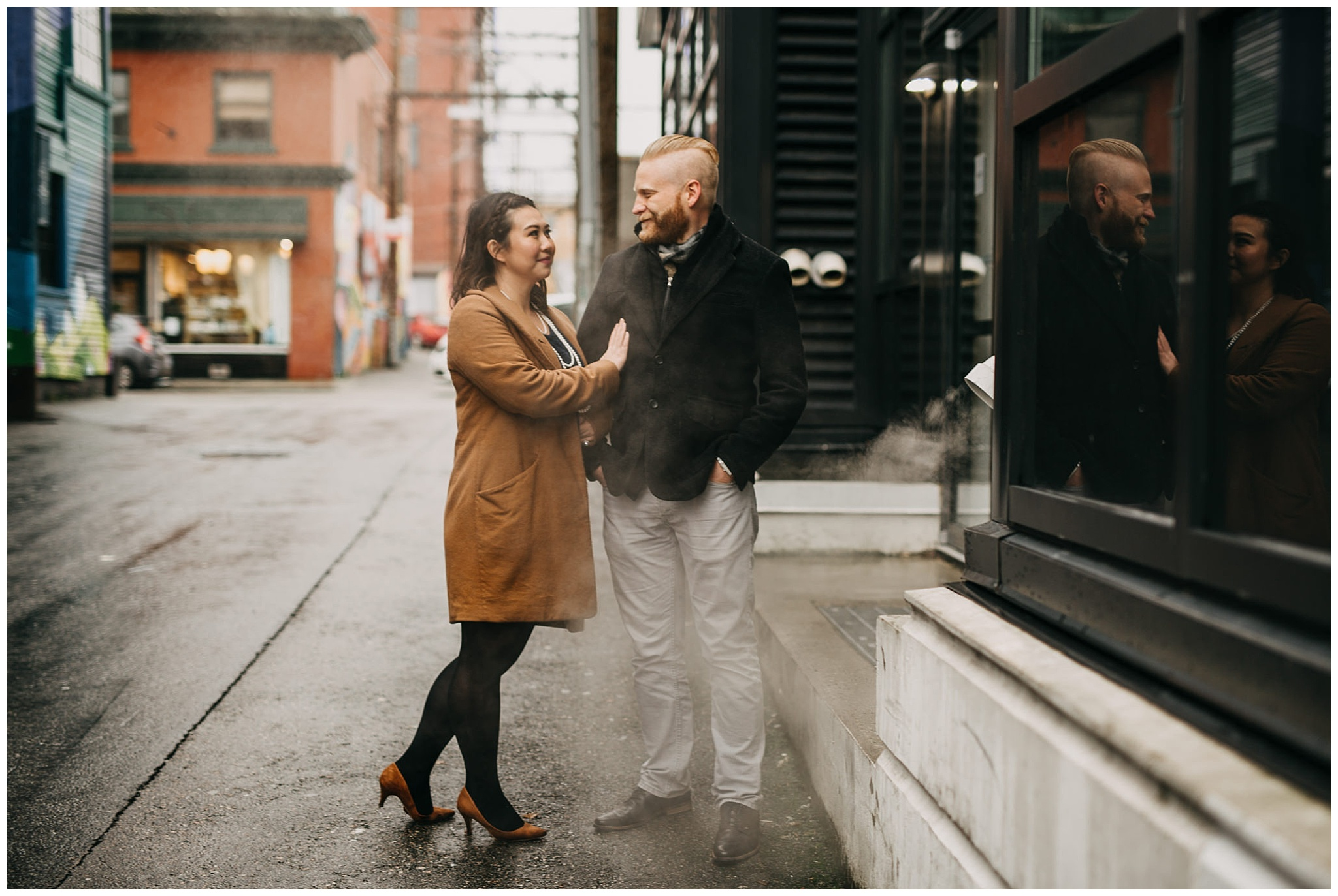 vancouver city urban engagement couple alleyway steam