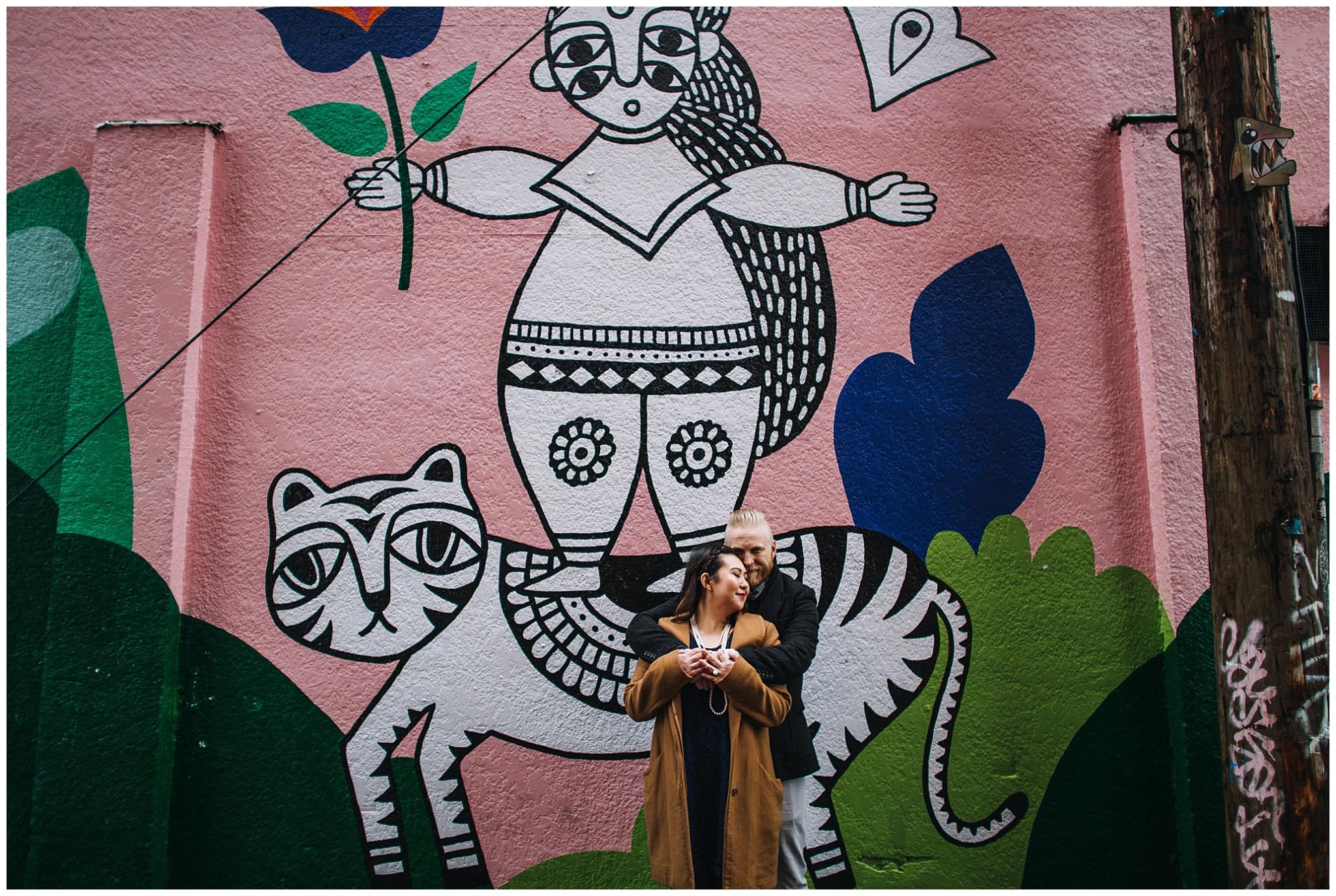 vancouver mural festival 2017 engagement photos sandeep johal art