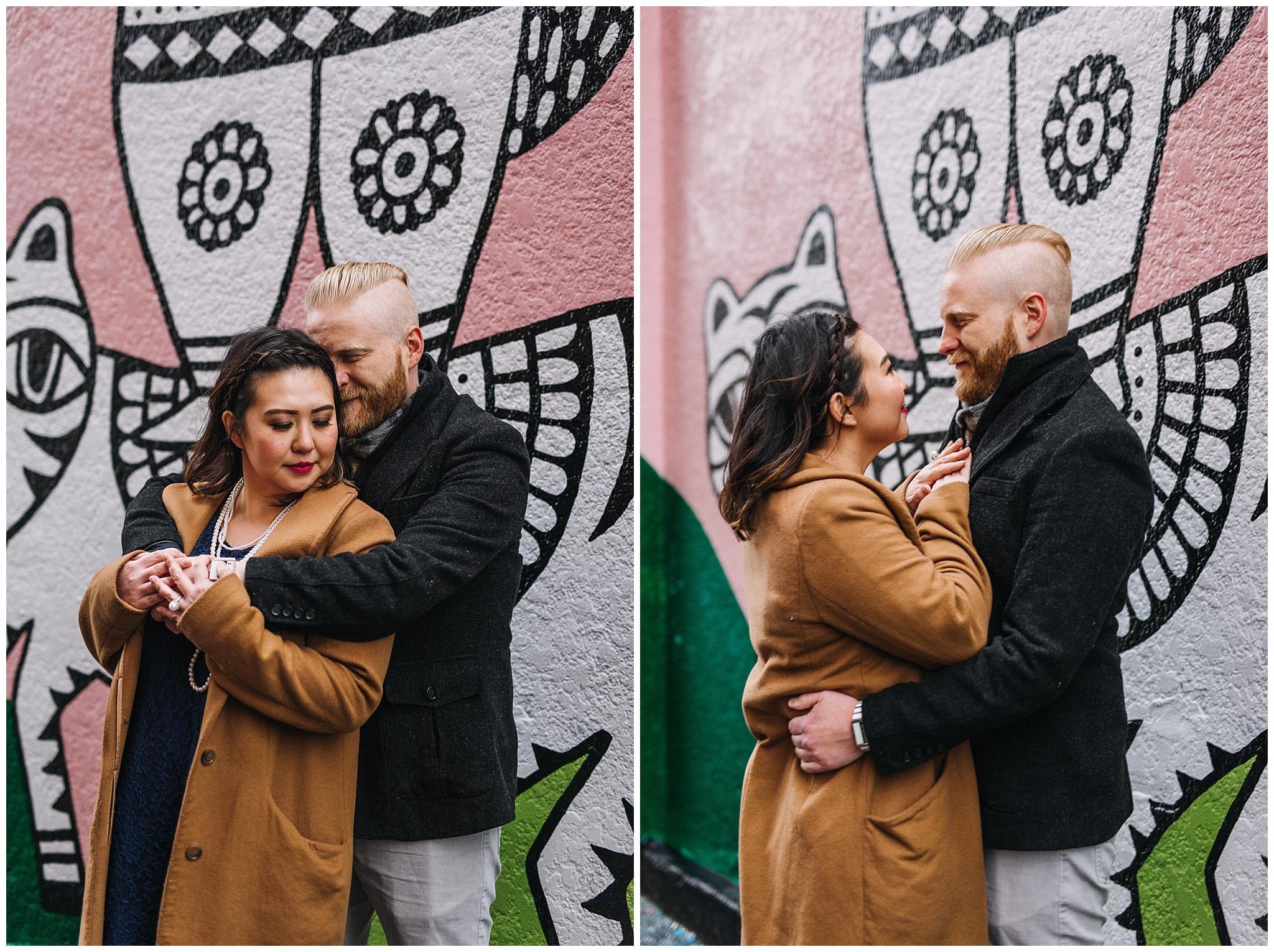 couple in front of mural vancouver mural festival sandeep johal art