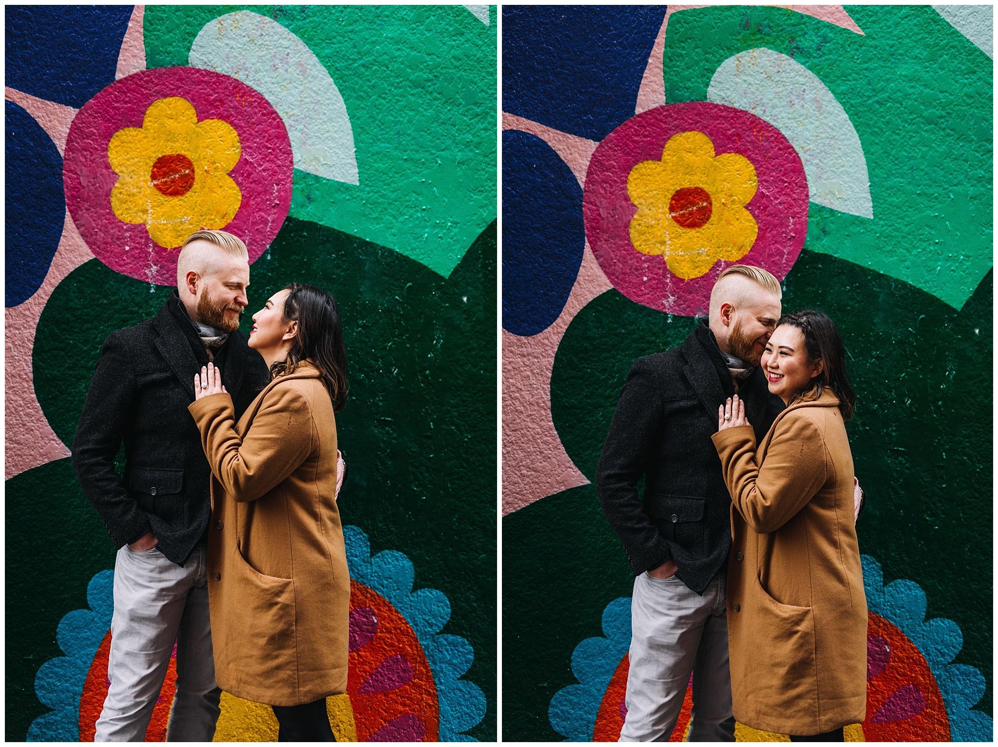 vancouver mural festival engagement photos couple sandeep johal art