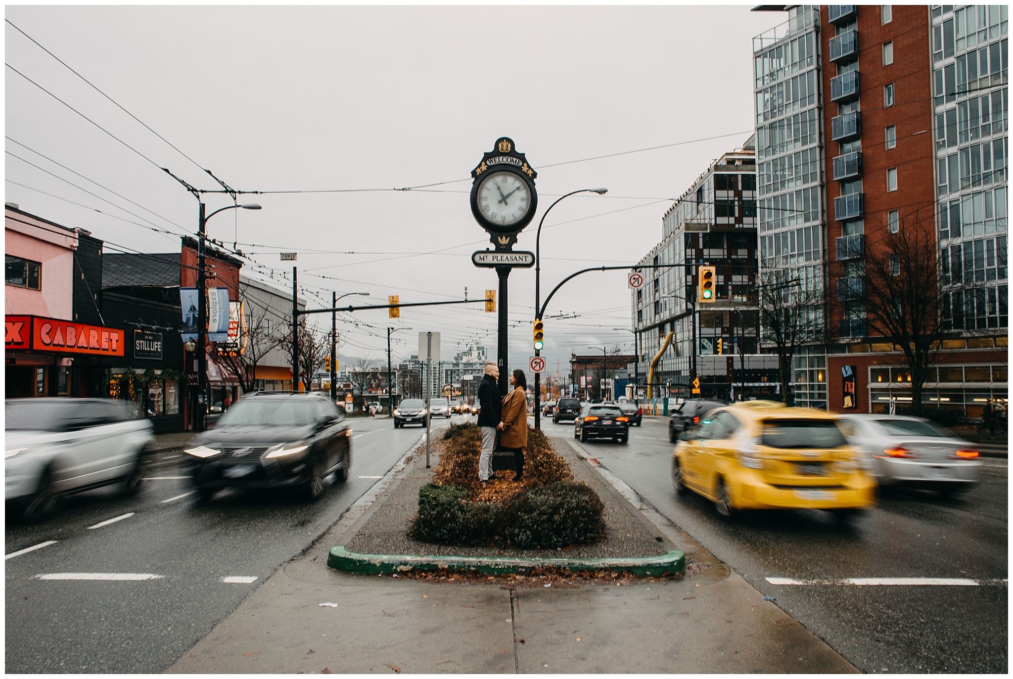 mount pleasant clock vancouver main kingsway engagement photos moving cars