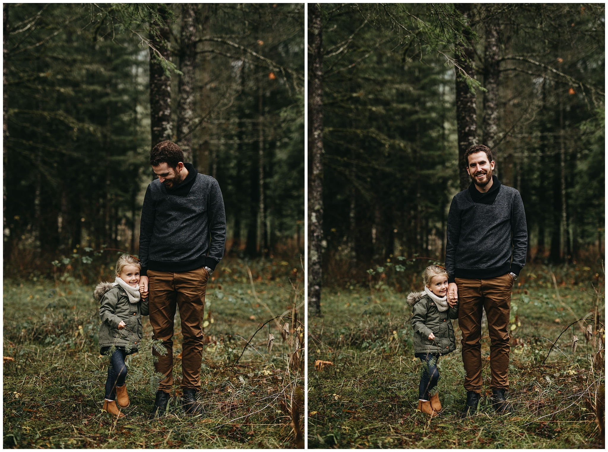 dad holding daughter's hand forest chilliwack family photos