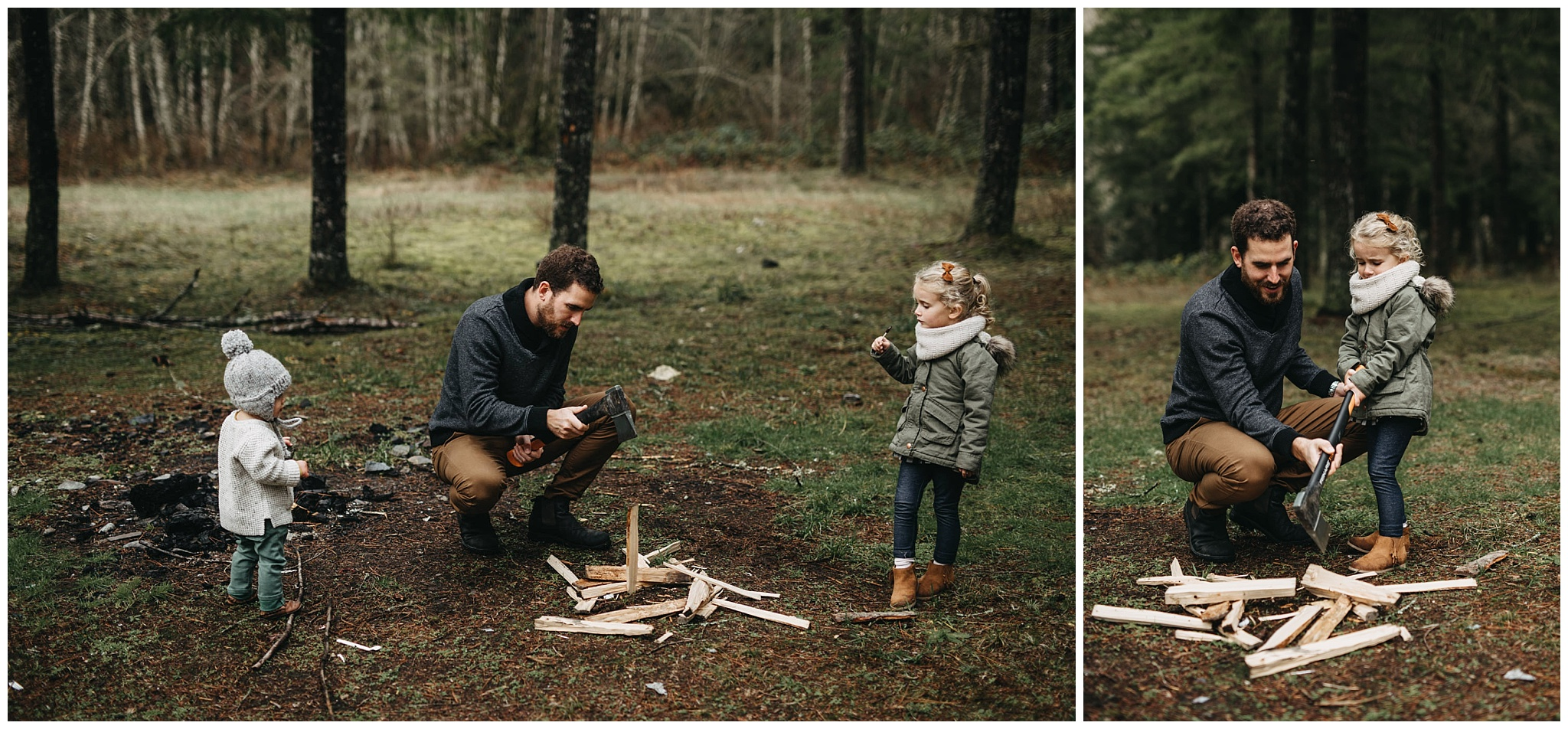 dad chopping firewood with kids family photos chilliwack forest